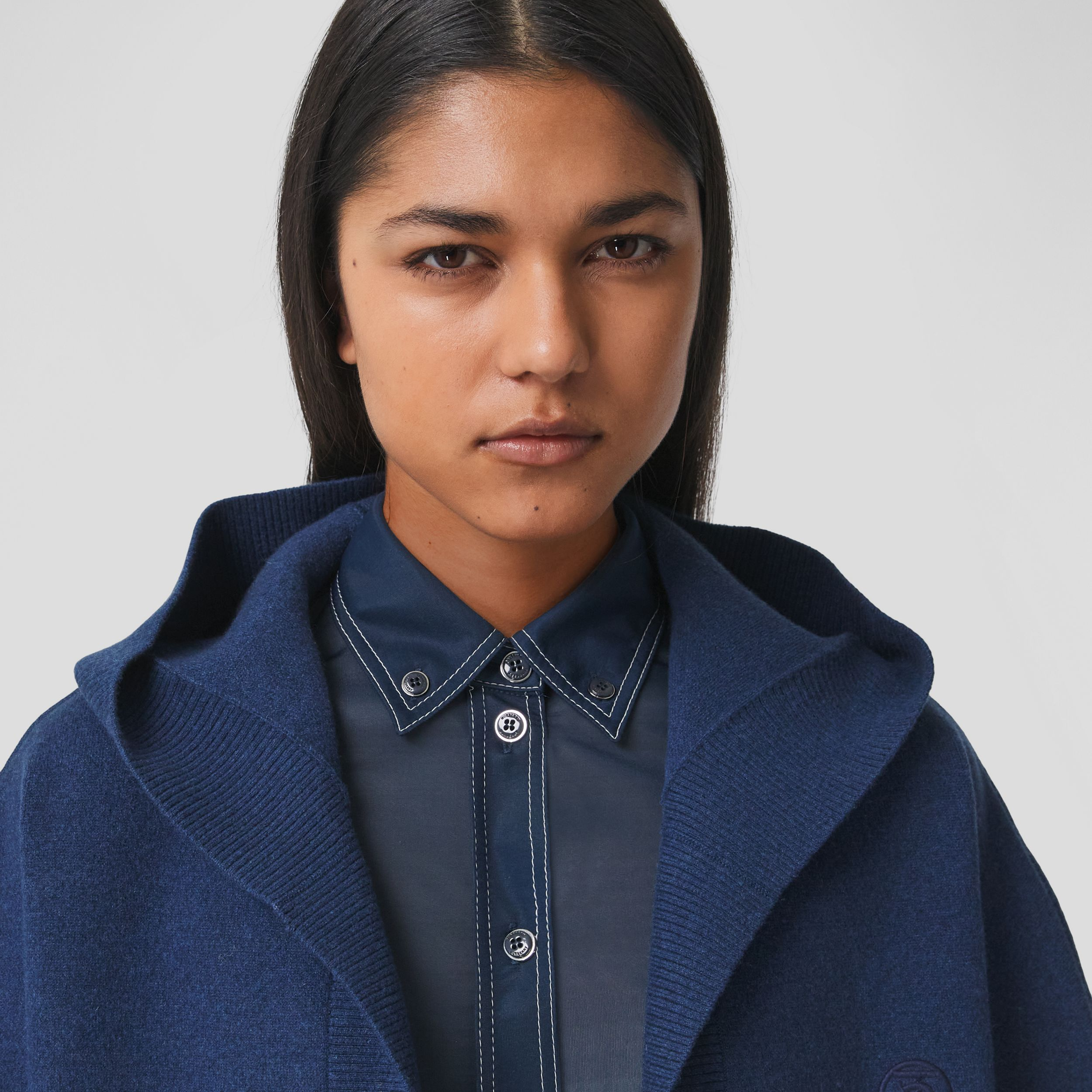 Monogram Motif Cashmere Blend Hooded Cape in Ink Blue - Women | Burberry - 2