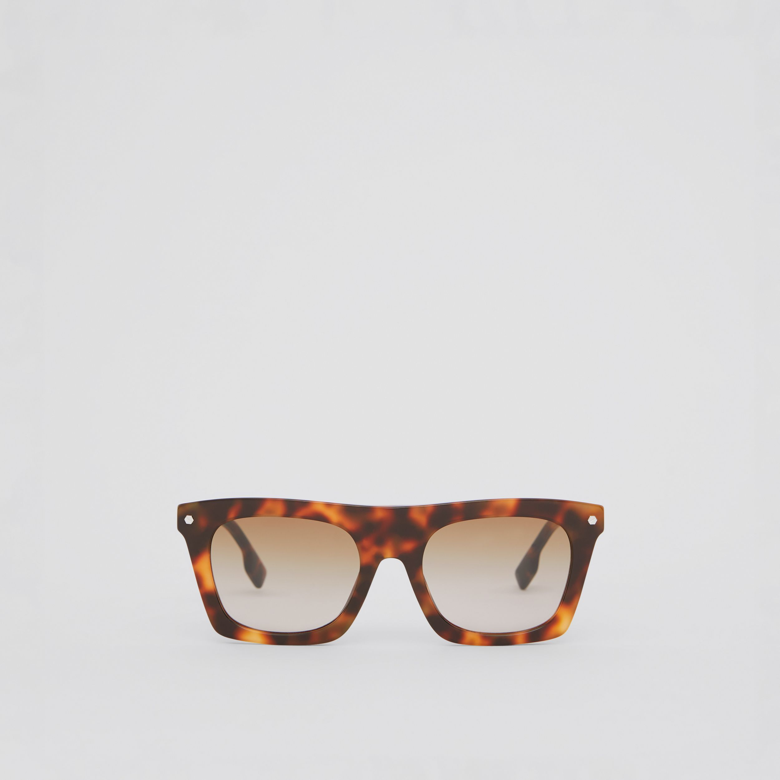Icon Stripe Detail Rectangular Frame Sunglasses in Dark Tortoise Amber - Men | Burberry - 1