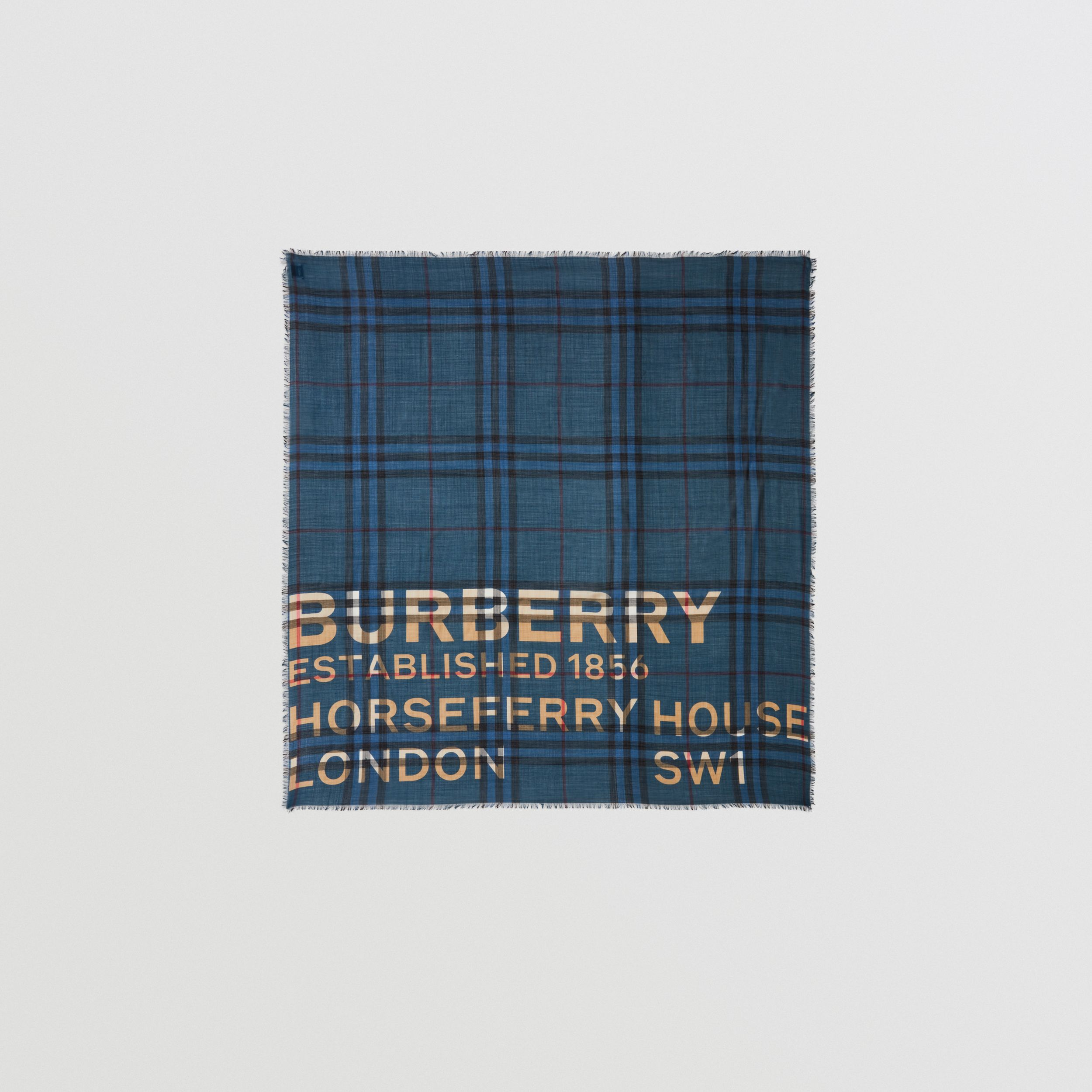 Horseferry Print Check Wool Silk Large Square Scarf in Ink Blue | Burberry - 1