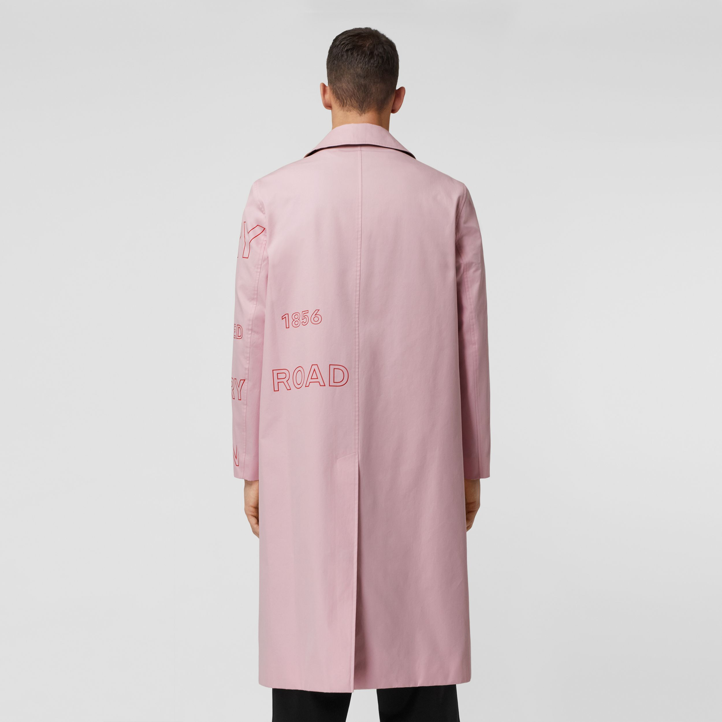 Horseferry Print Cotton Gabardine Car Coat in Light Pink - Men | Burberry - 3