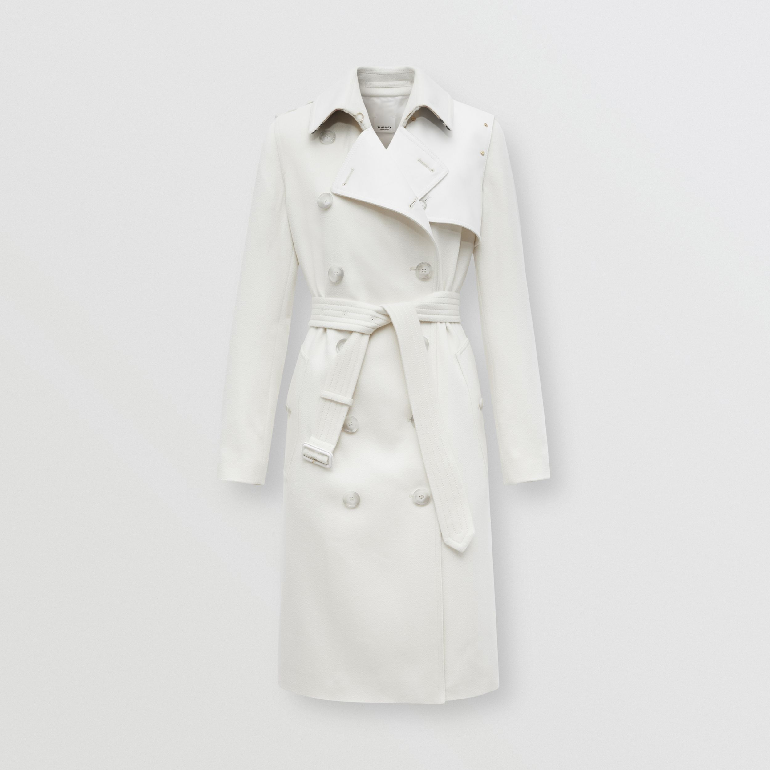 Cotton Gabardine Panel Cashmere Trench Coat in Natural White - Women | Burberry Australia - 4