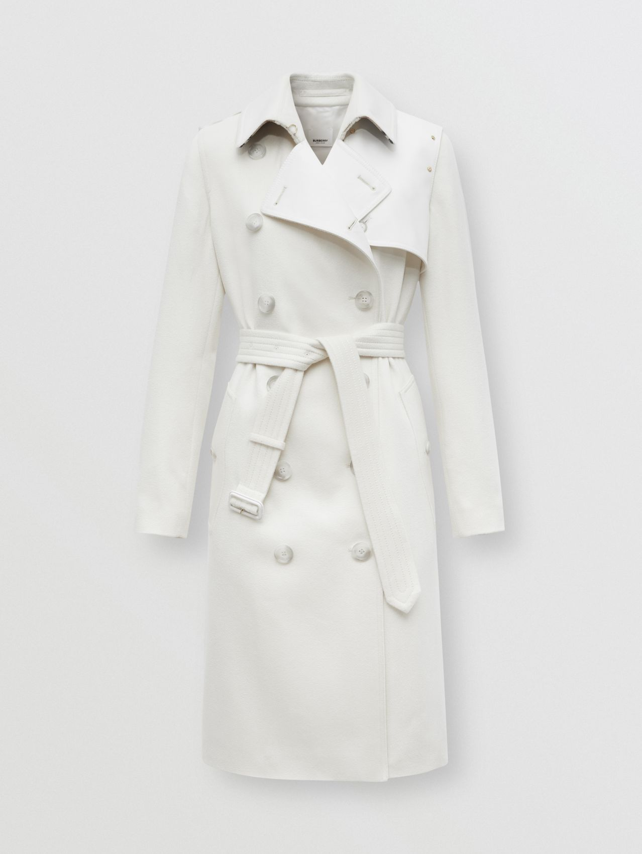 Cotton Gabardine Panel Cashmere Trench Coat in Natural White