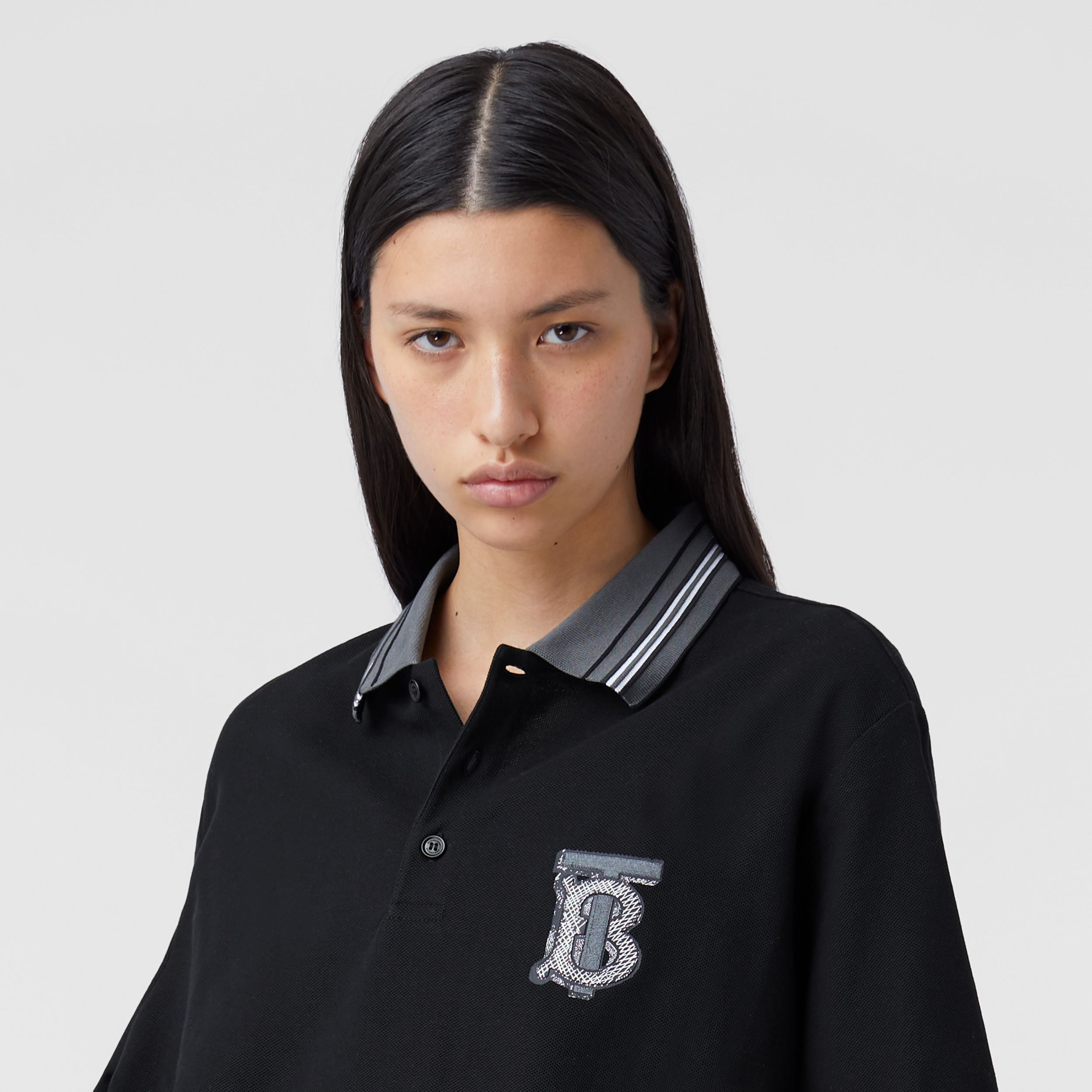 Monogram Motif Cotton Piqué Polo Shirt – Unisex in Black | Burberry - 2