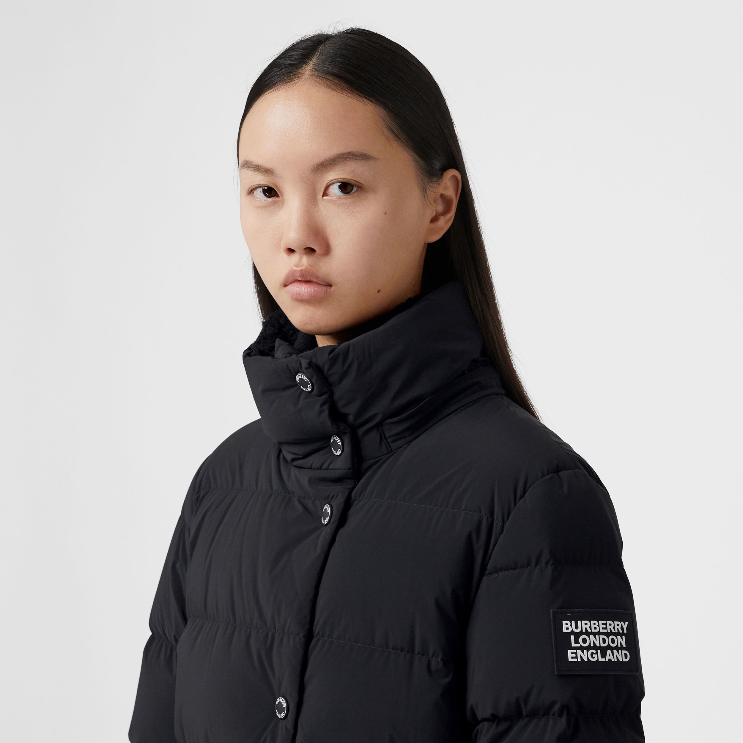 Detachable Hood Belted Puffer Coat in Black - Women | Burberry - 2