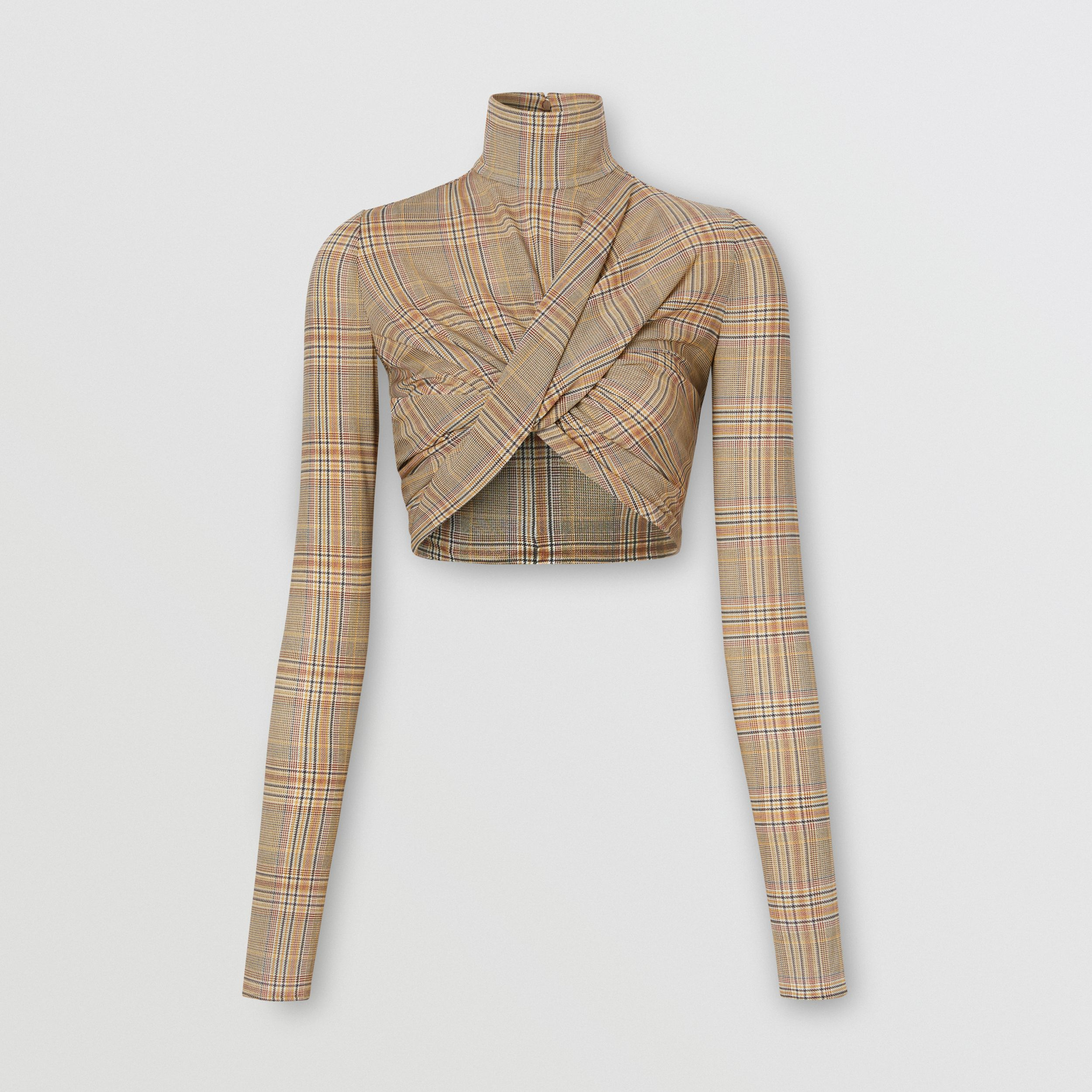 Long-sleeve Check Stretch Jersey Cropped Top in Fawn - Women | Burberry - 4