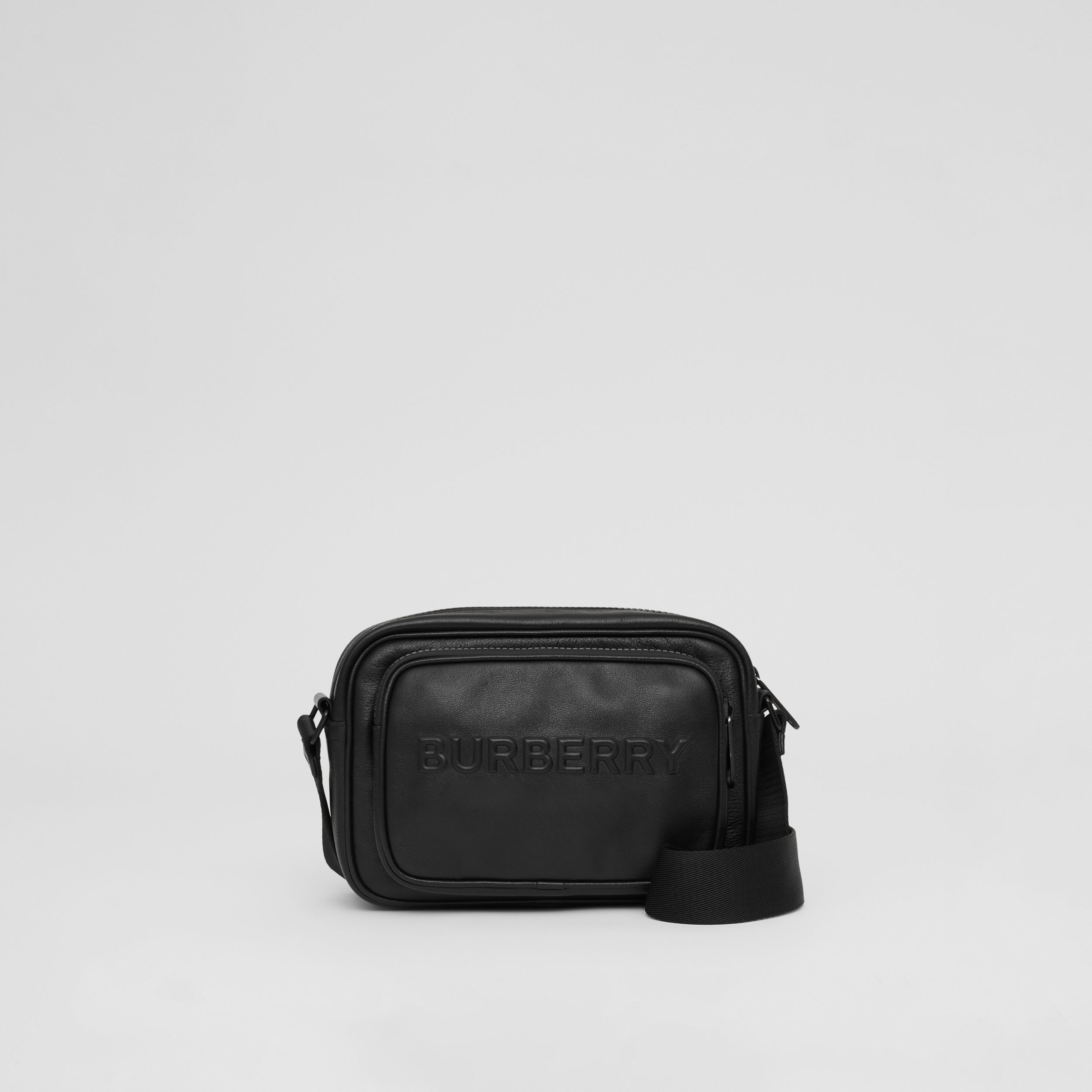 Debossed Logo Leather Crossbody Bag in Black - Men | Burberry - 1