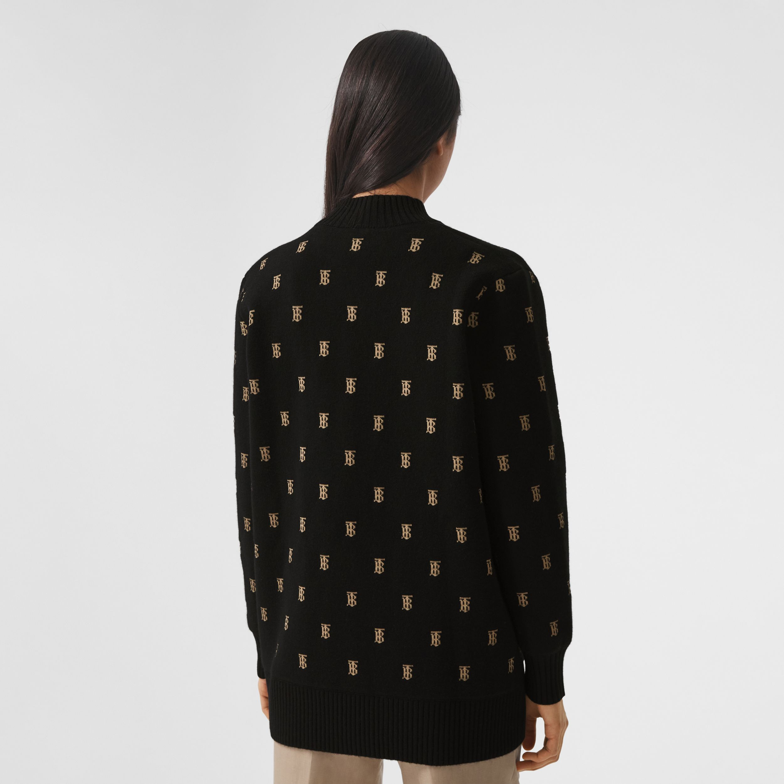 Monogram Wool Cashmere Blend Oversized Cardigan in Black - Women | Burberry - 3