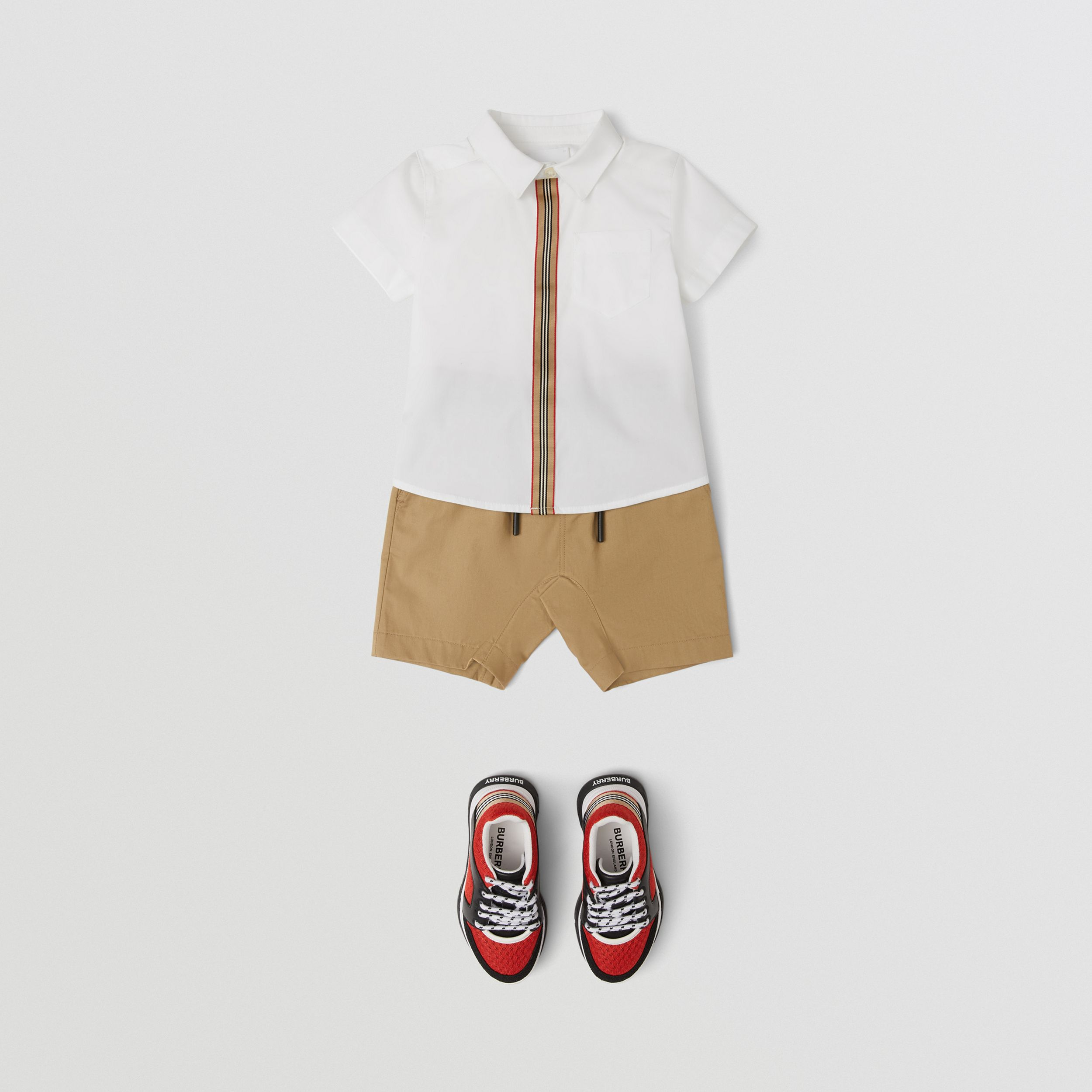 Short-sleeve Icon Stripe Trim Stretch Cotton Shirt in White - Children | Burberry United States - 3