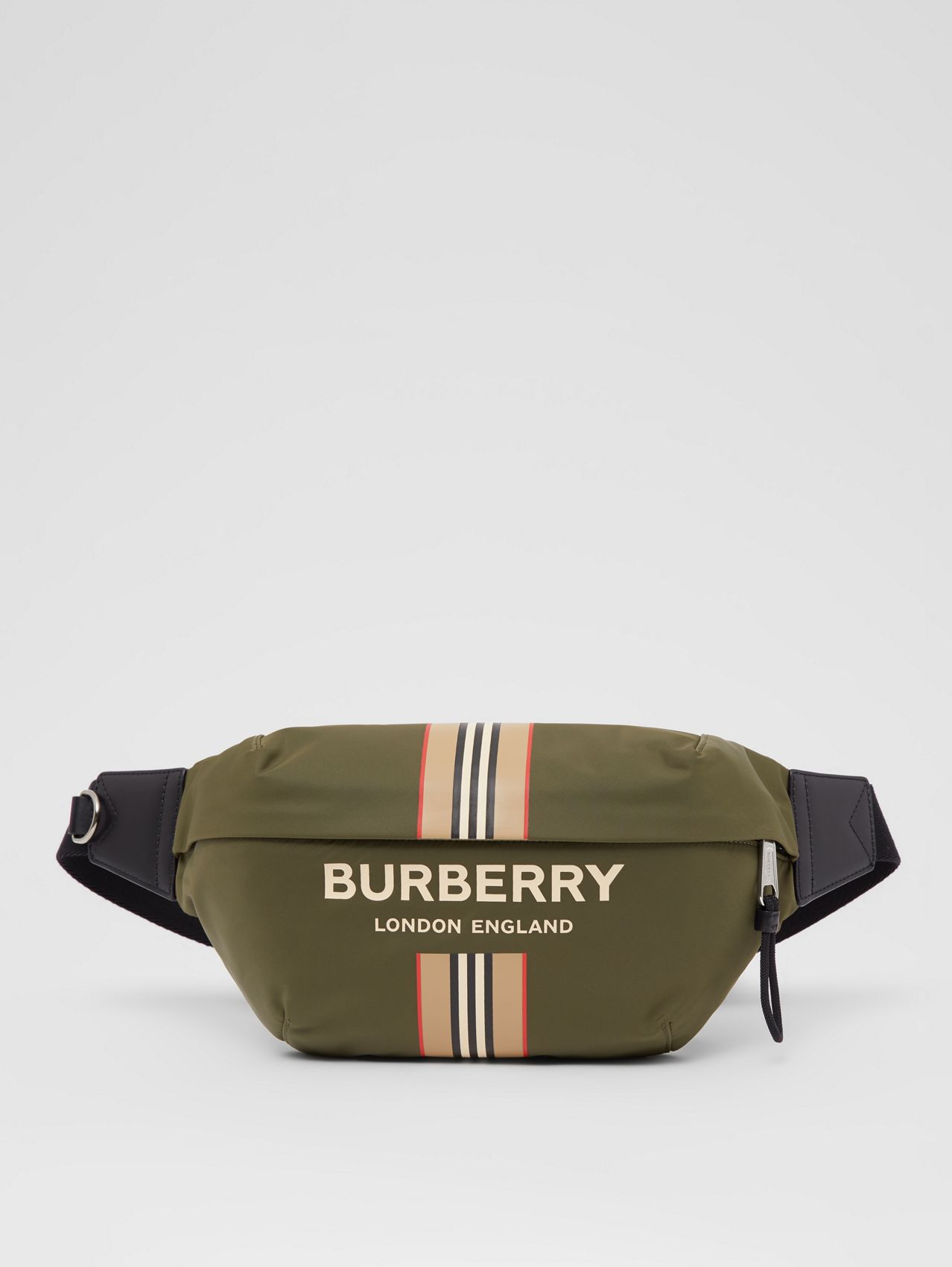 Logo and Icon Stripe Print ECONYL® Sonny Bum Bag in Dark Olive Green