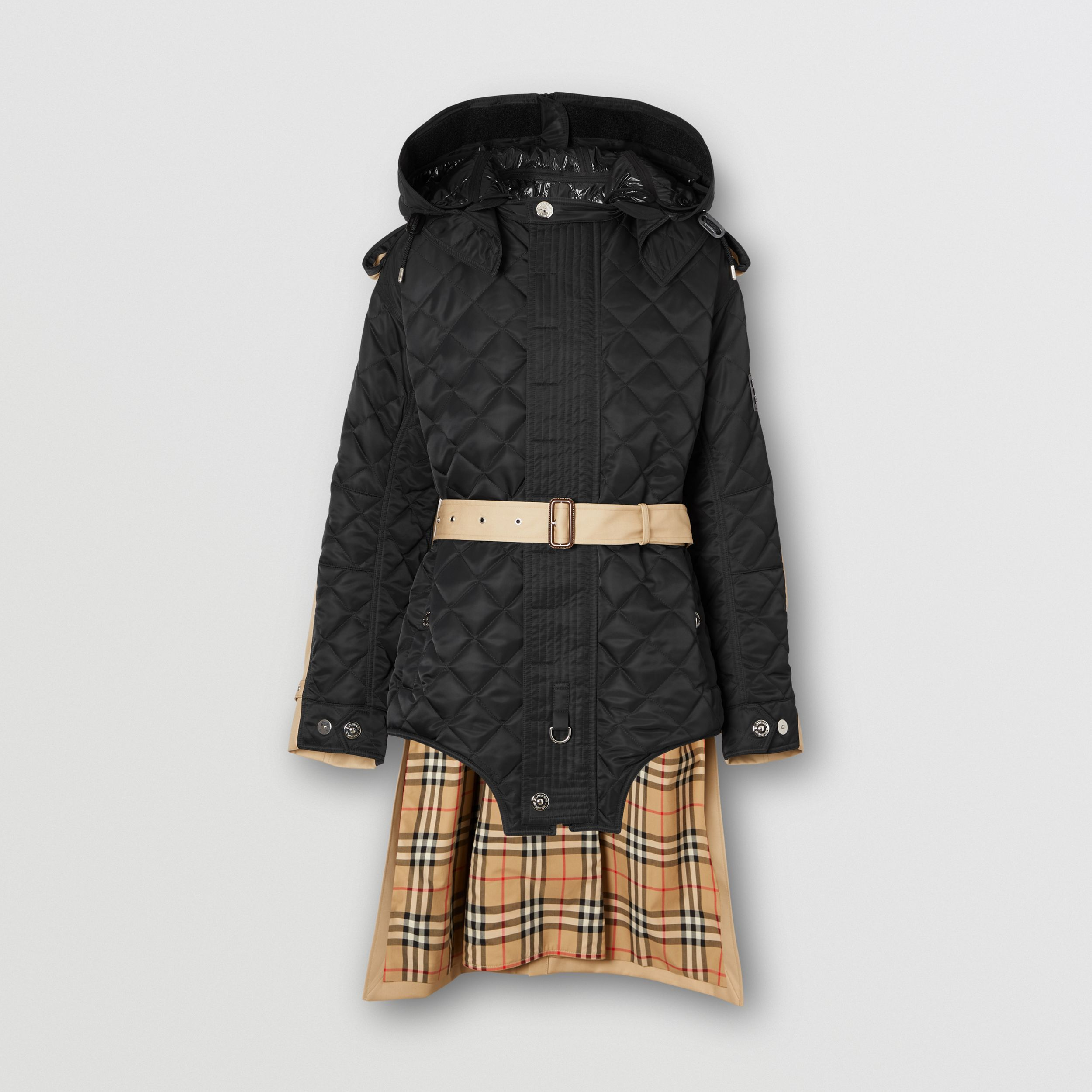 Detachable Hood Quilted Nylon and Cotton Coat in Black | Burberry - 4