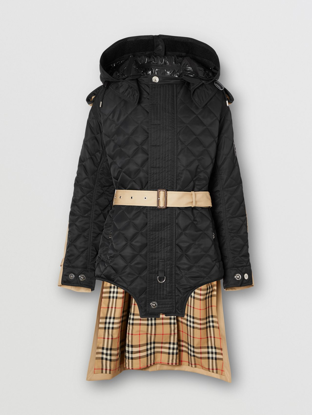 Detachable Hood Quilted Nylon and Cotton Coat in Black