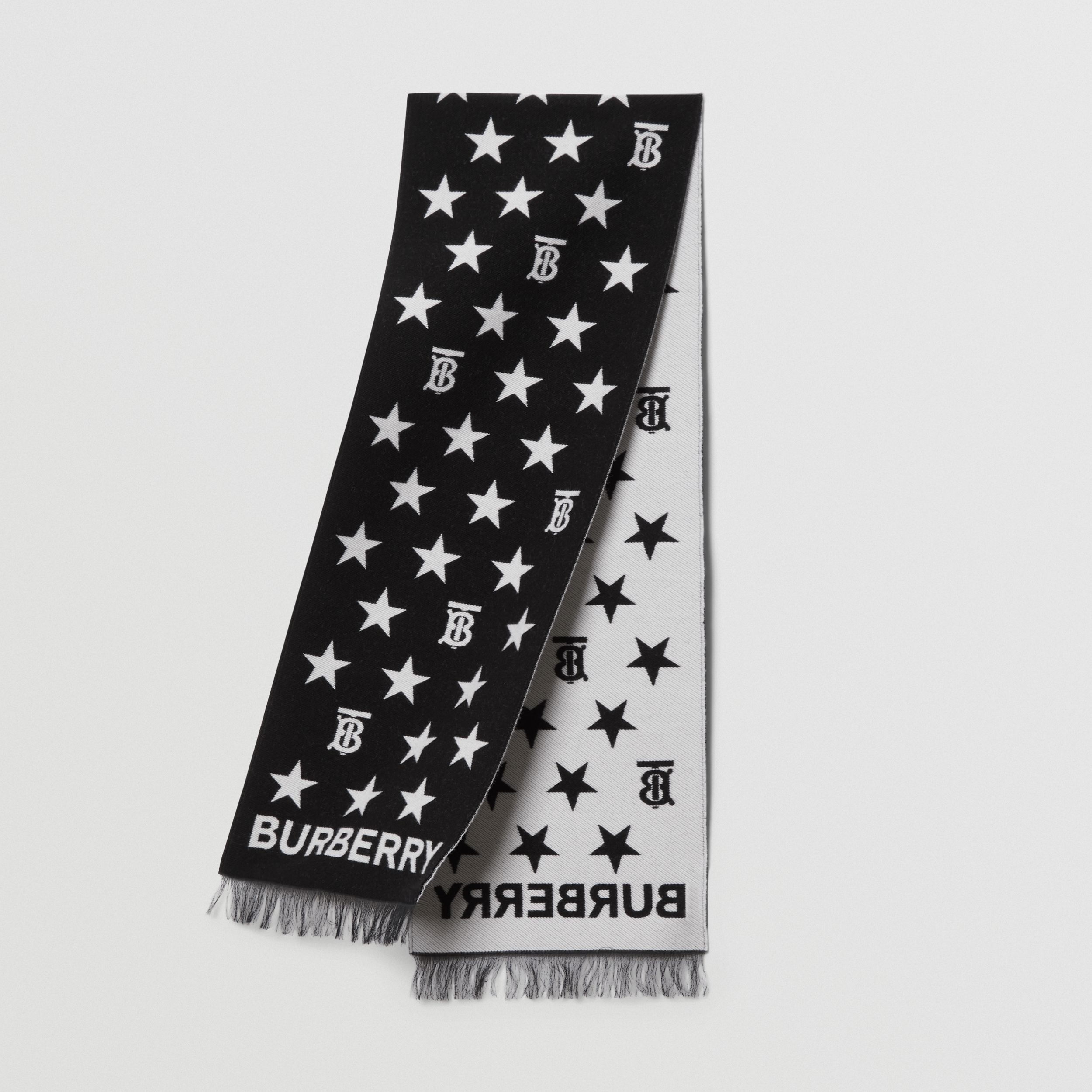 Star and Monogram Motif Wool Cotton Jacquard Scarf in Black - Children | Burberry - 1