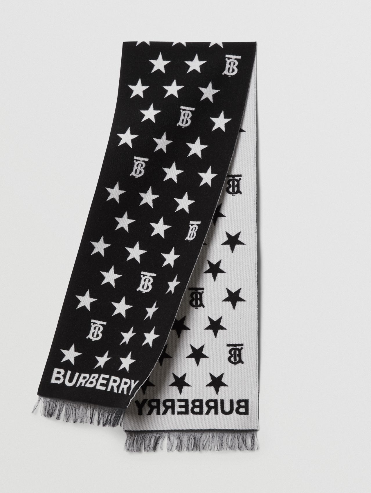 Star and Monogram Motif Wool Cotton Jacquard Scarf in Black