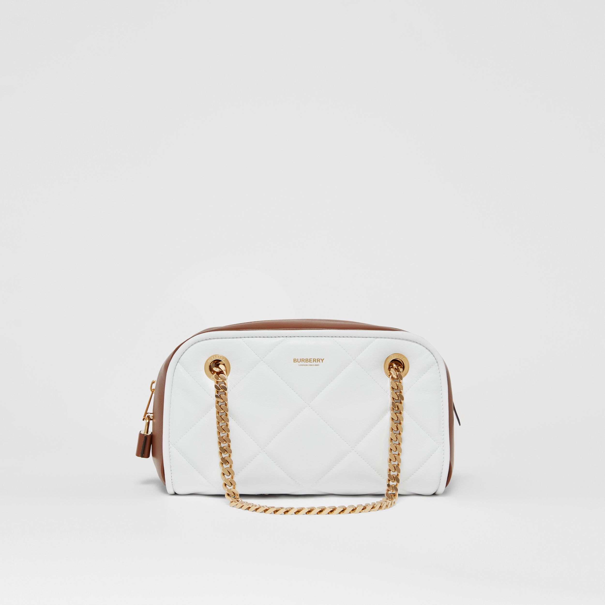 Small Two-tone Lambskin Double Cube Bag in White/tan - Women | Burberry - 1