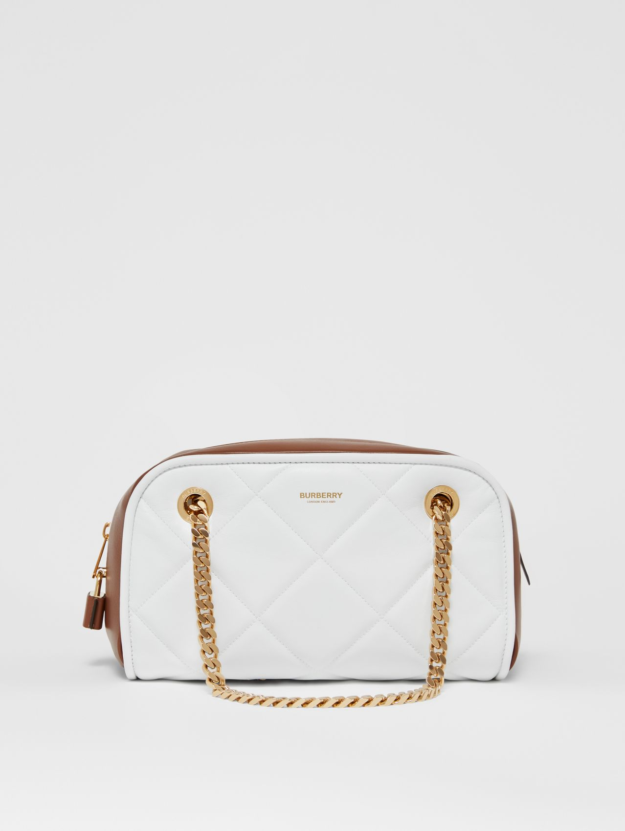 Small Two-tone Lambskin Double Cube Bag in White/tan
