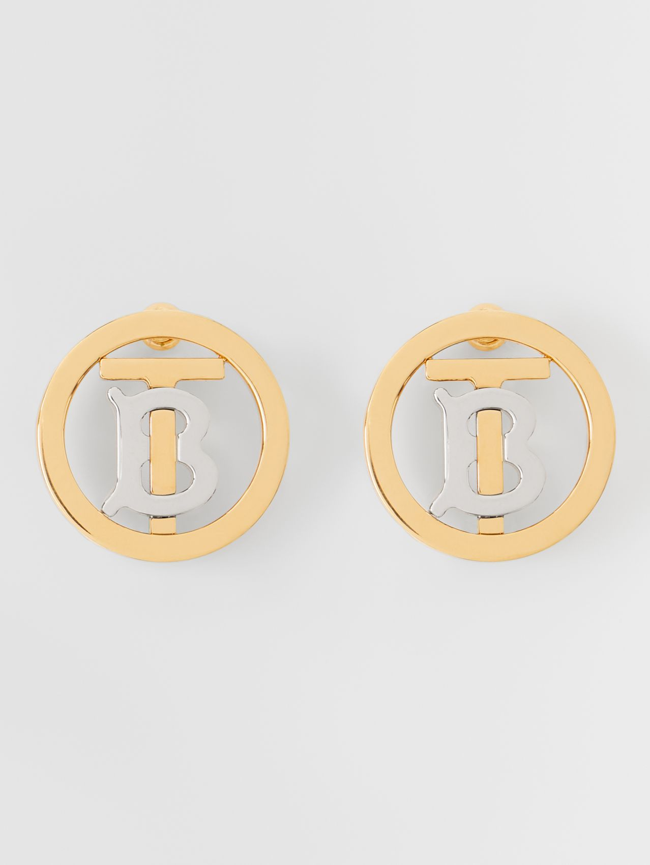 Gold and Palladium-plated Monogram Motif Earrings in Light