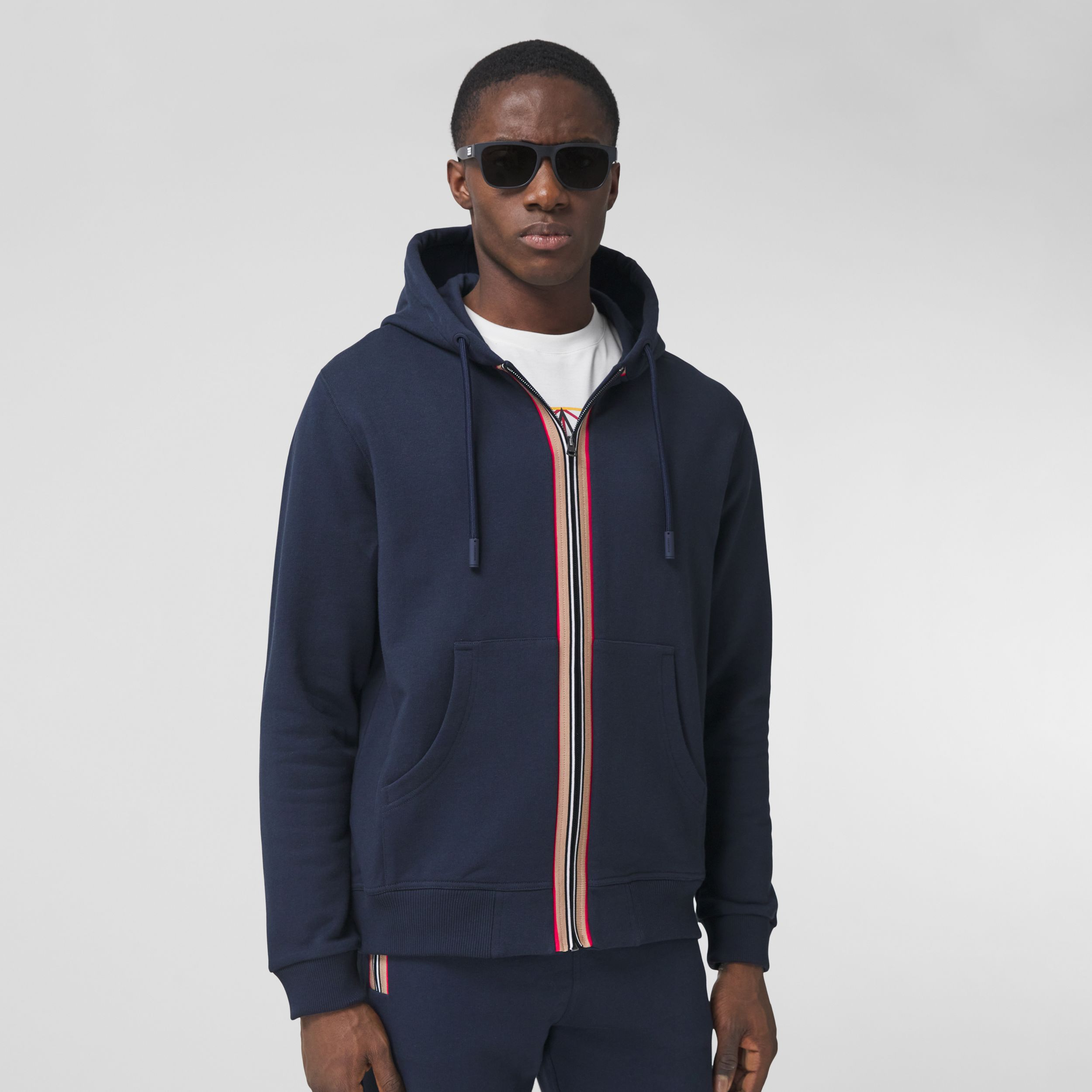 Icon Stripe Detail Cotton Hooded Top in Navy - Men | Burberry United States - 1