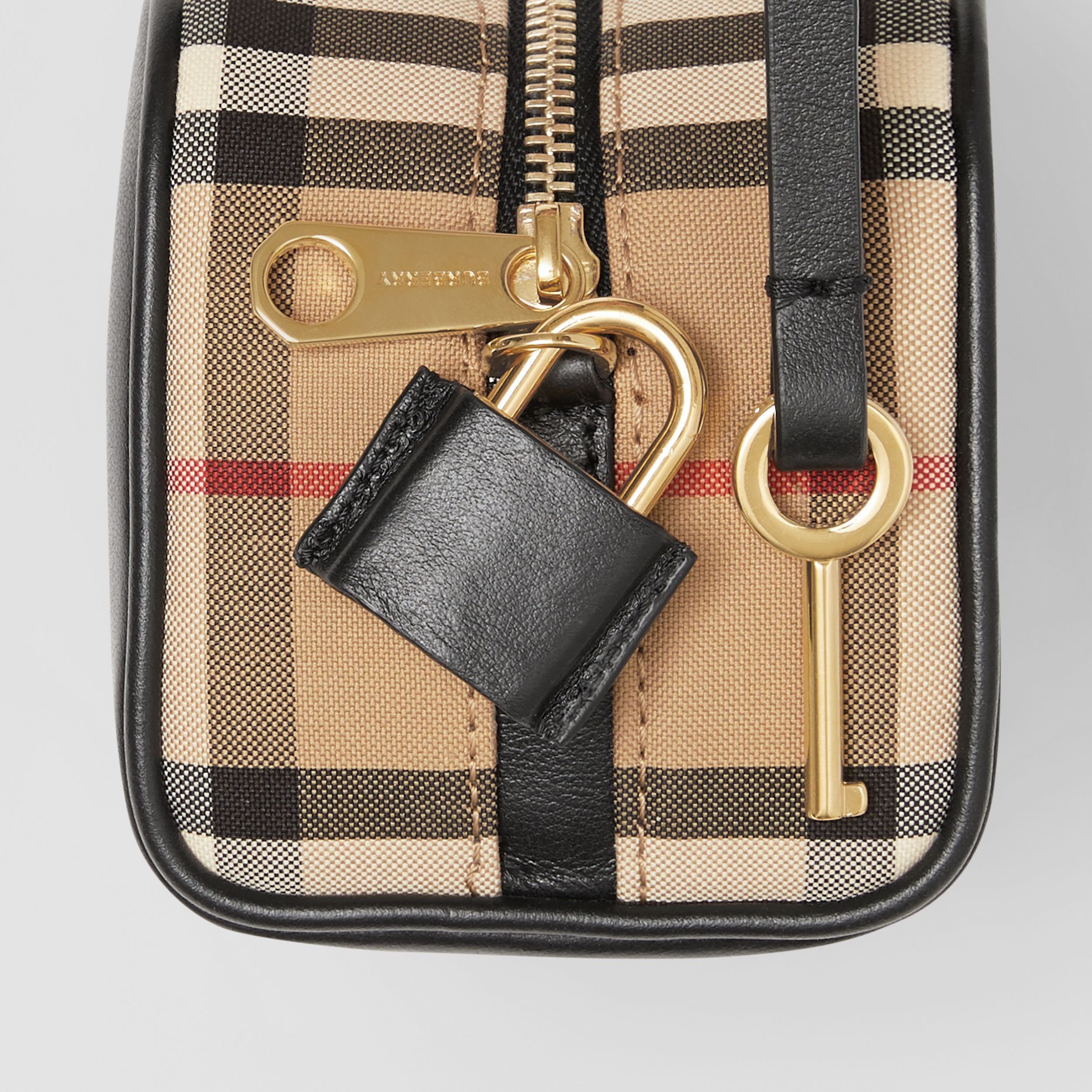 Micro Leather and Vintage Check Cube Bag in Black/archive Beige | Burberry - 2