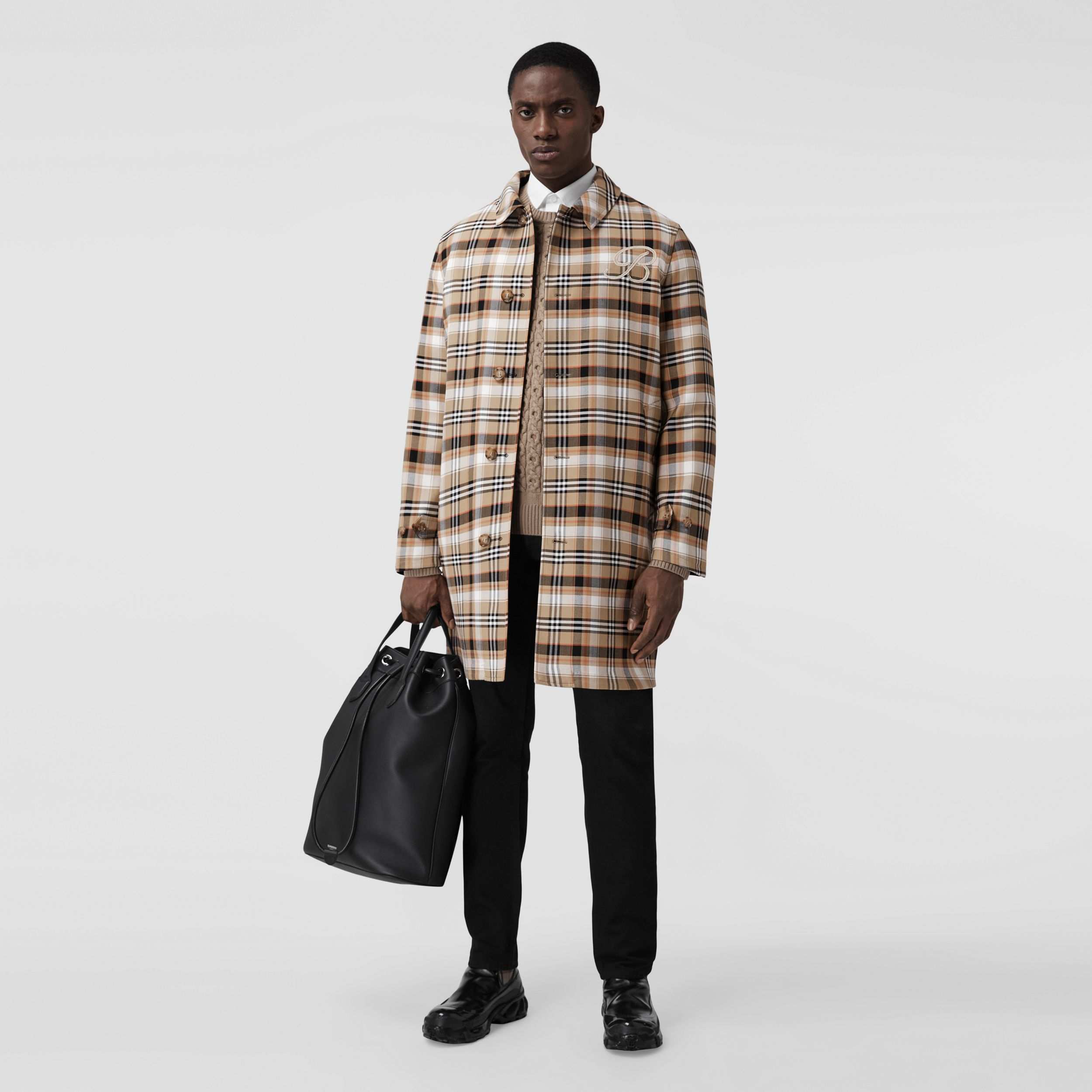 Reversible Check Wool Cotton Car Coat in Archive Beige - Men | Burberry United Kingdom - 1