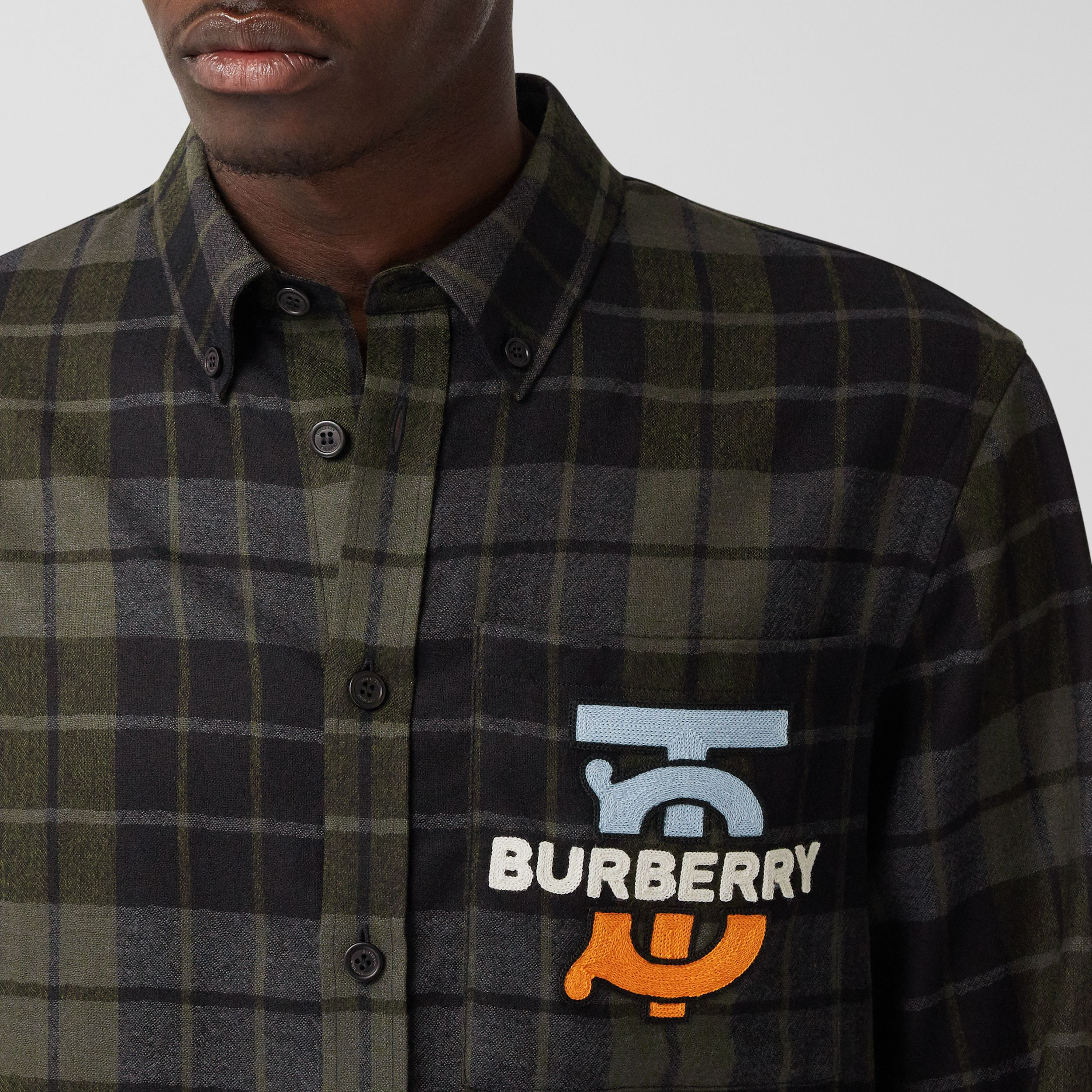 Monogram Motif Check Wool Flannel Oversized Shirt in Black - Men | Burberry - 2