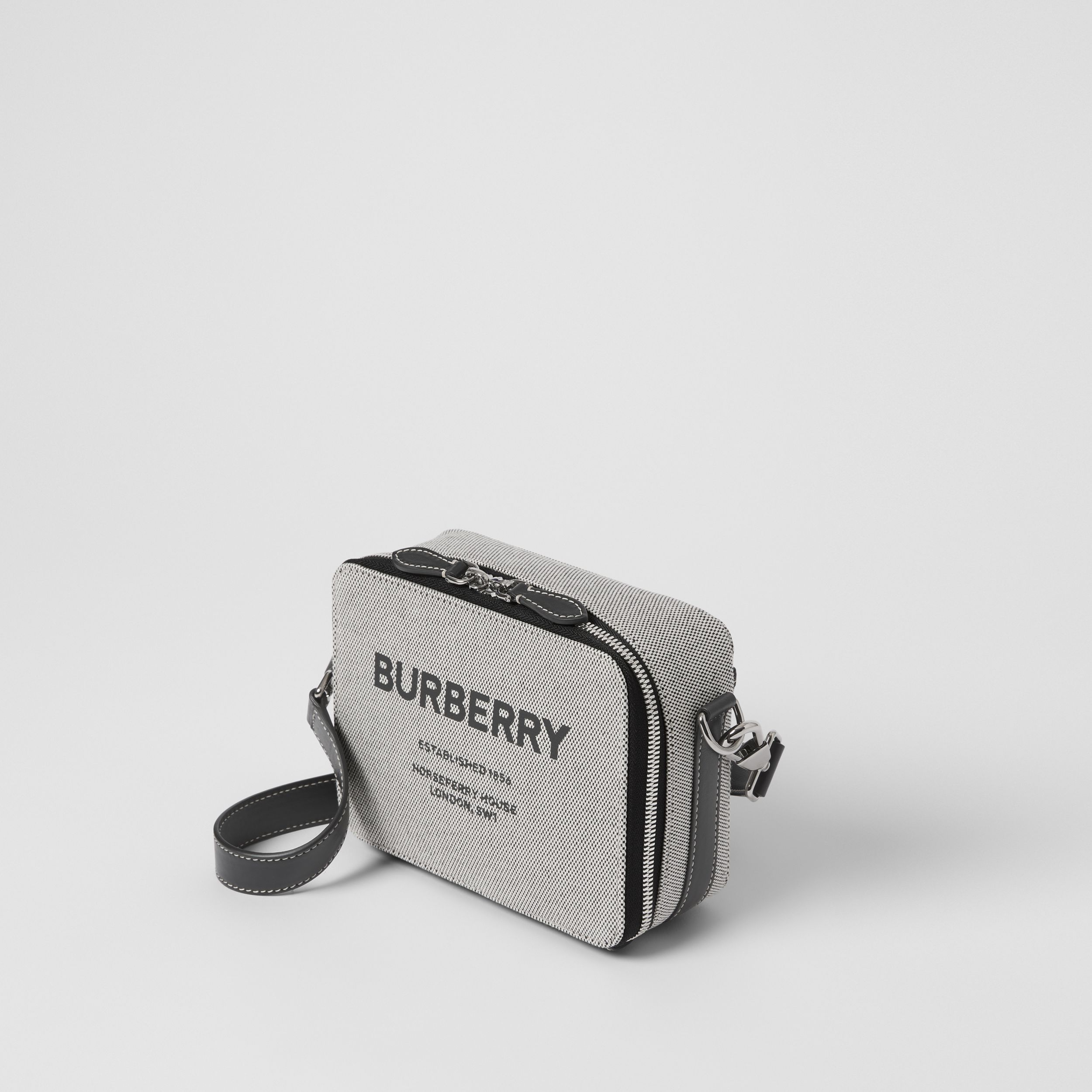 Horseferry Print Canvas and Leather Crossbody Bag in Black - Men | Burberry - 3