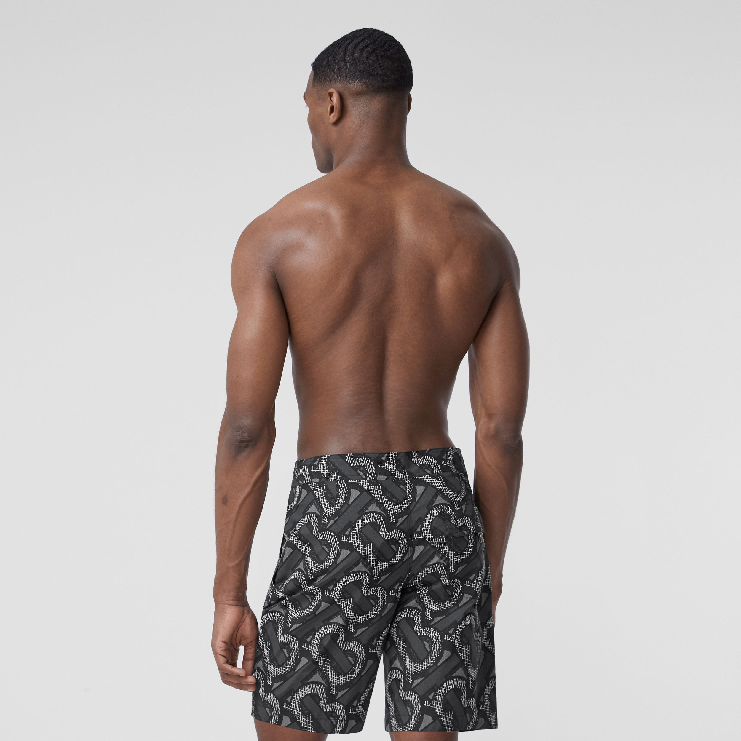 Monogram Print Swim Shorts in Graphite - Men | Burberry - 4