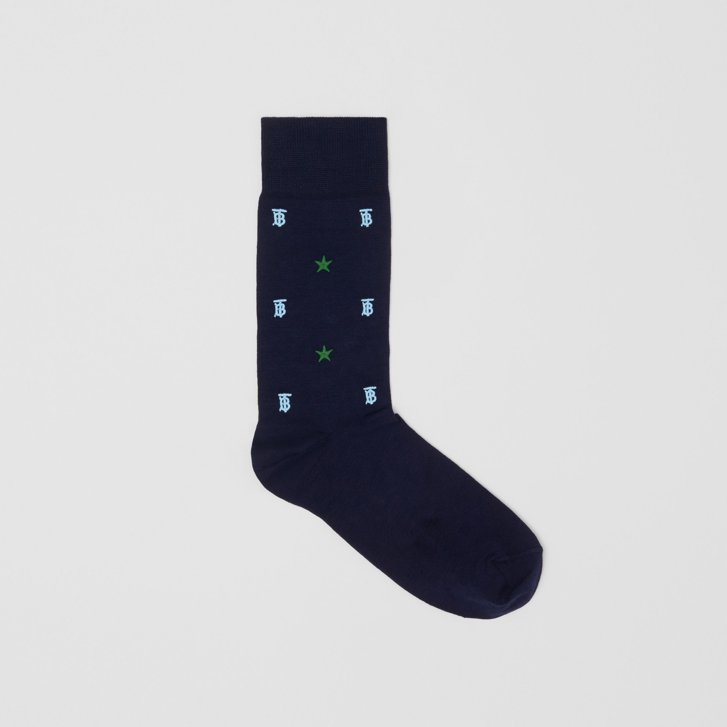 Star and Monogram Motif Cotton Blend Socks in Navy | Burberry - 1
