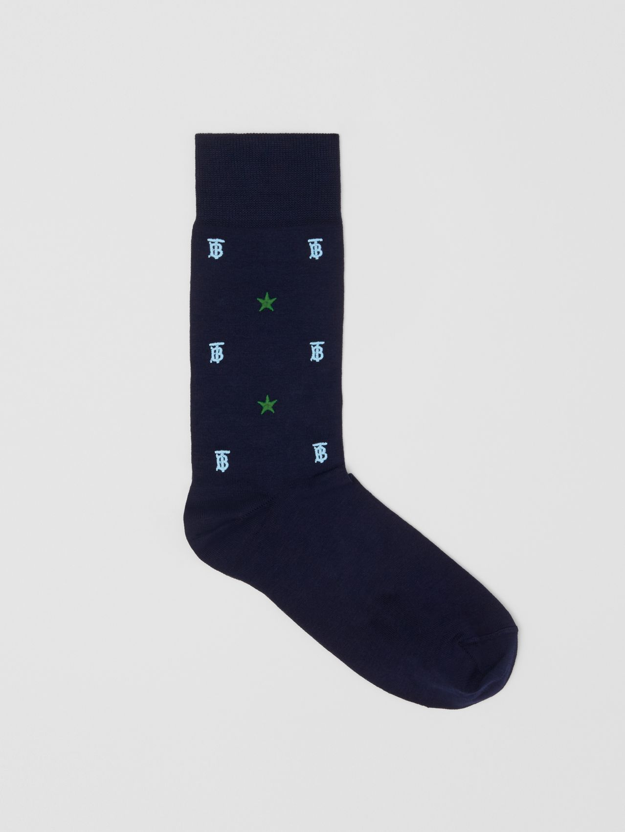Star and Monogram Motif Cotton Blend Socks in Navy