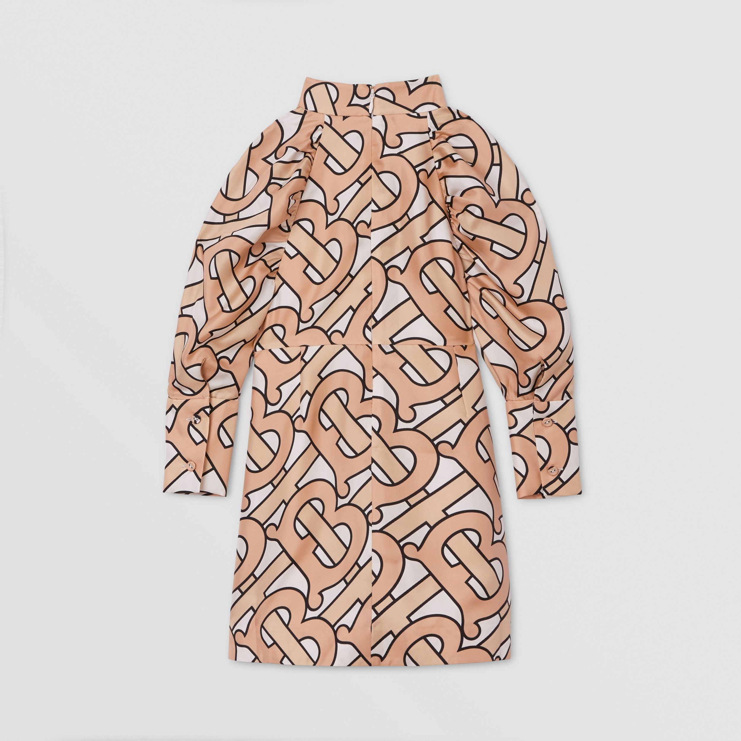 Puff-sleeve Monogram Print Silk Dress in Rose Pink | Burberry - 4