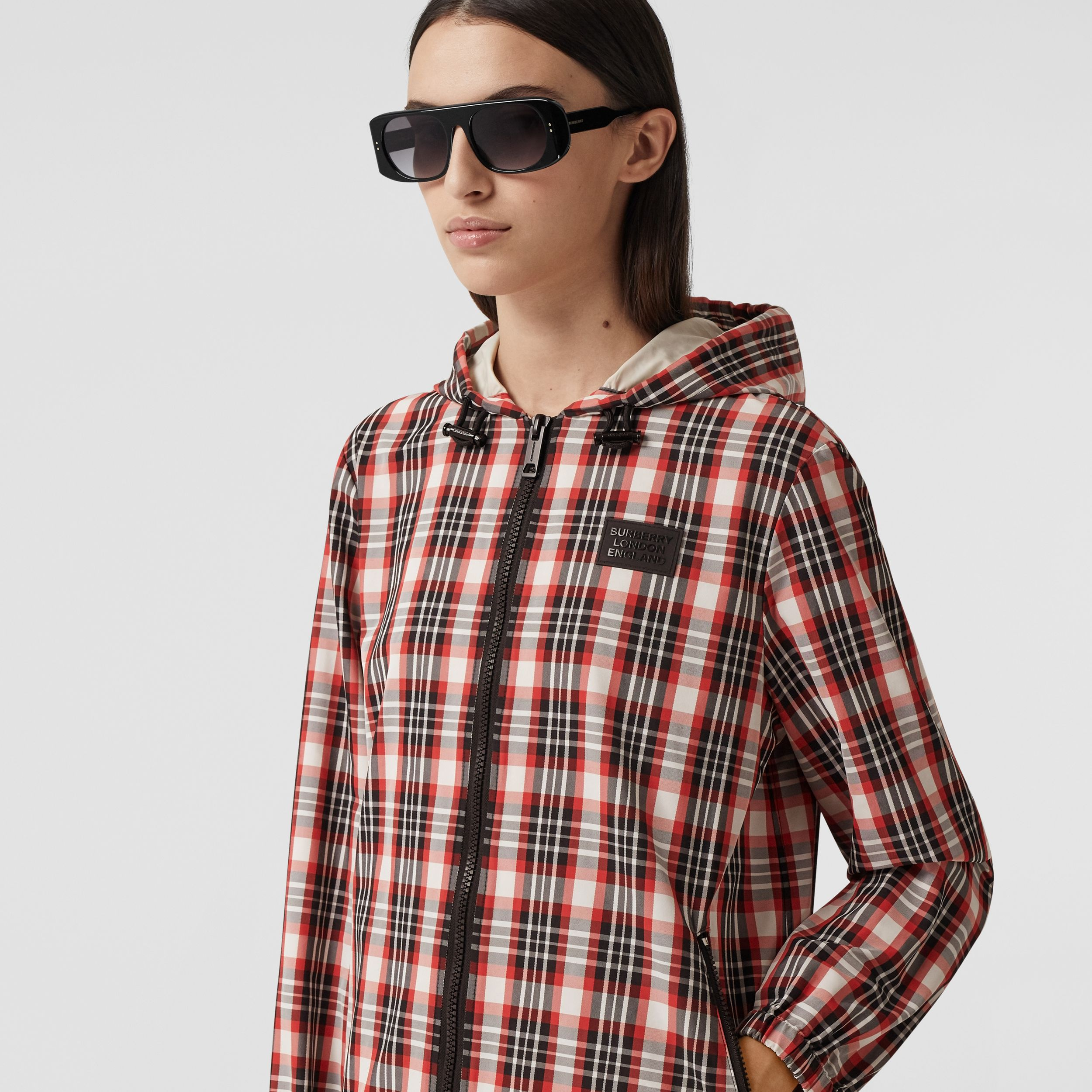 Logo Appliqué Tartan Nylon Parka in Bright Red - Women | Burberry - 2