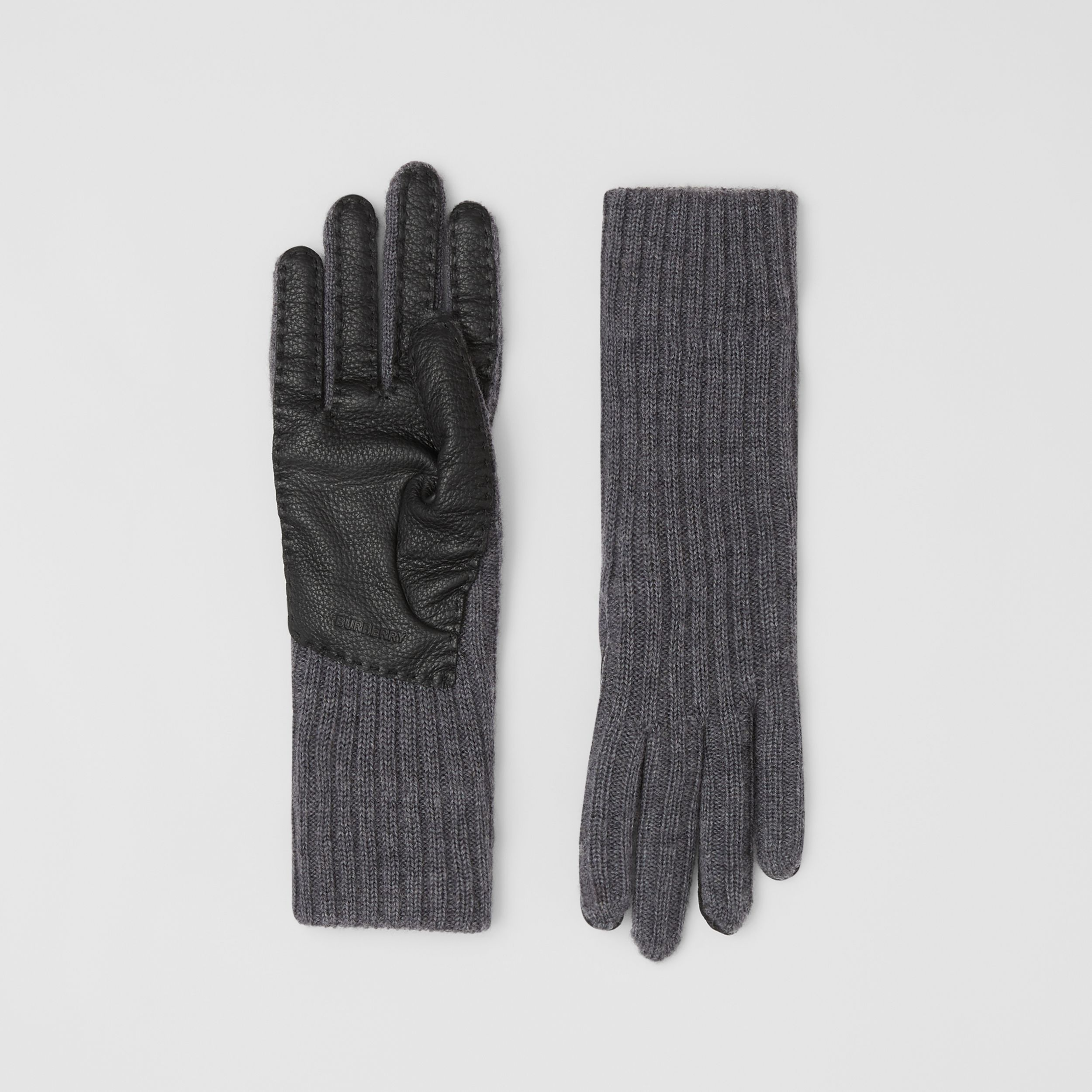 Cashmere-lined Merino Wool and Deerskin Gloves in Grey Melange - Men | Burberry Canada - 1