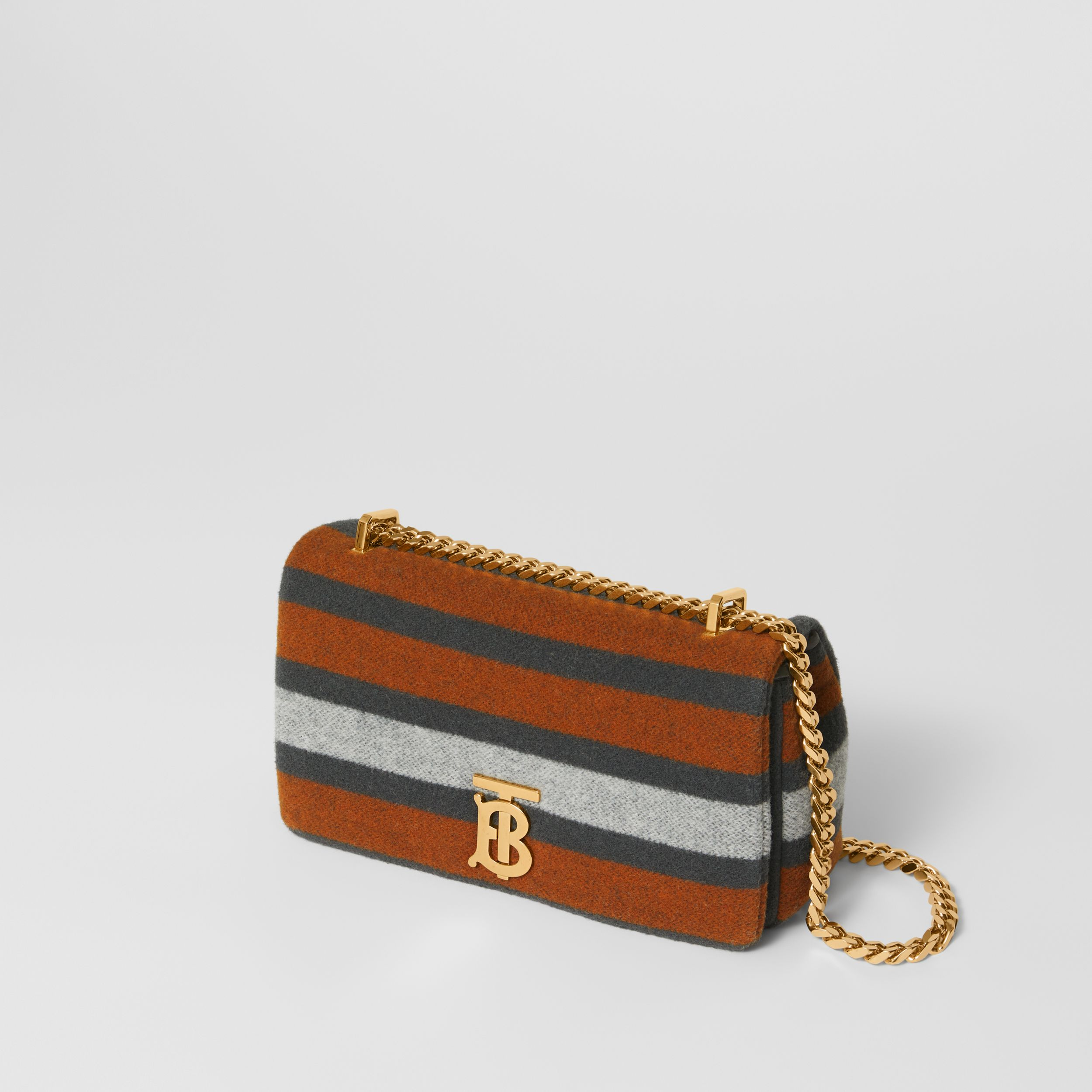 Small Striped Wool Lola Bag in Grey/orange - Women | Burberry - 4