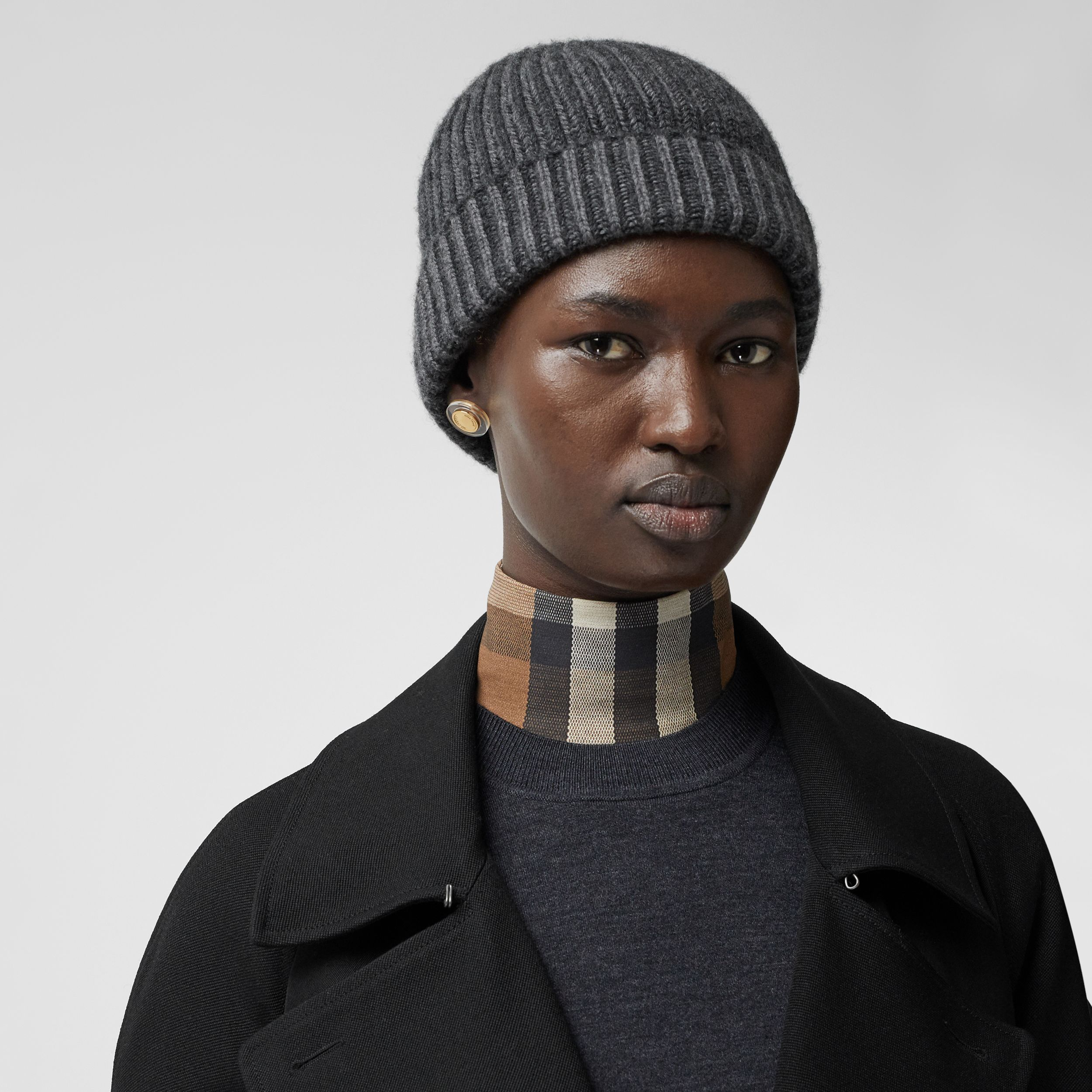 Rib Knit Cashmere Beanie in Grey Melange | Burberry - 3