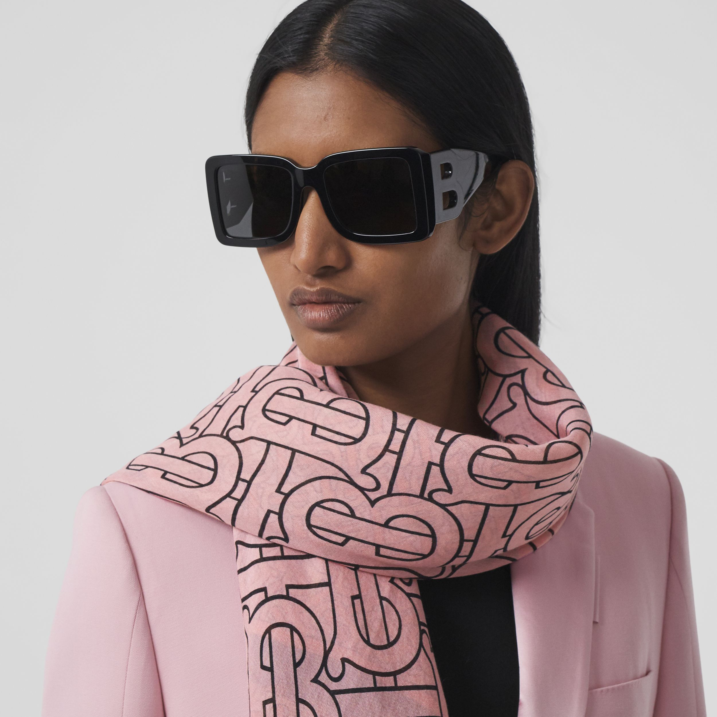 Monogram Print Wool Silk Large Square Scarf in Candy Pink | Burberry United States - 3