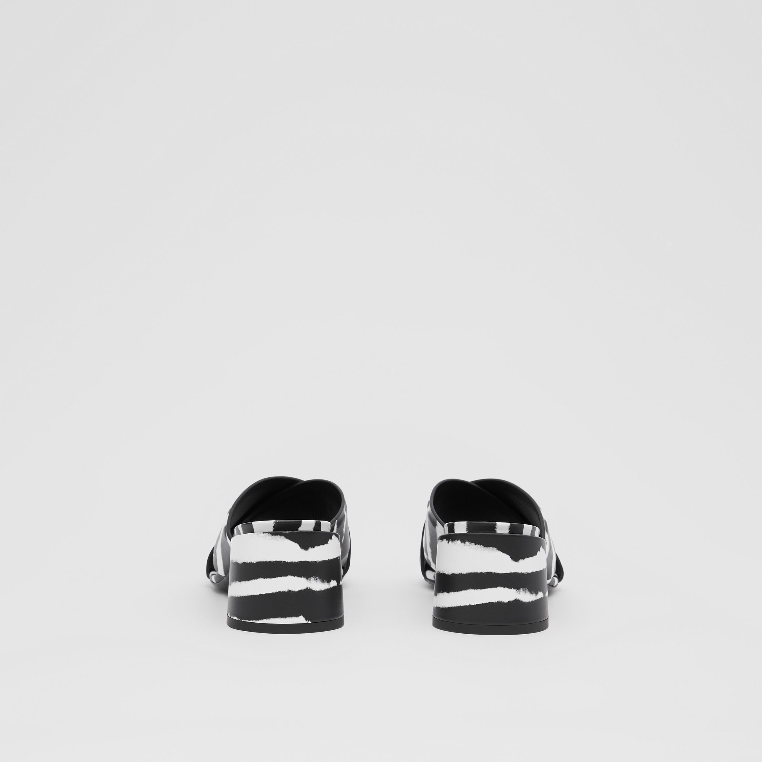 Watercolour Print Leather Block-heel Sandals in Black/white - Women | Burberry Hong Kong S.A.R. - 4