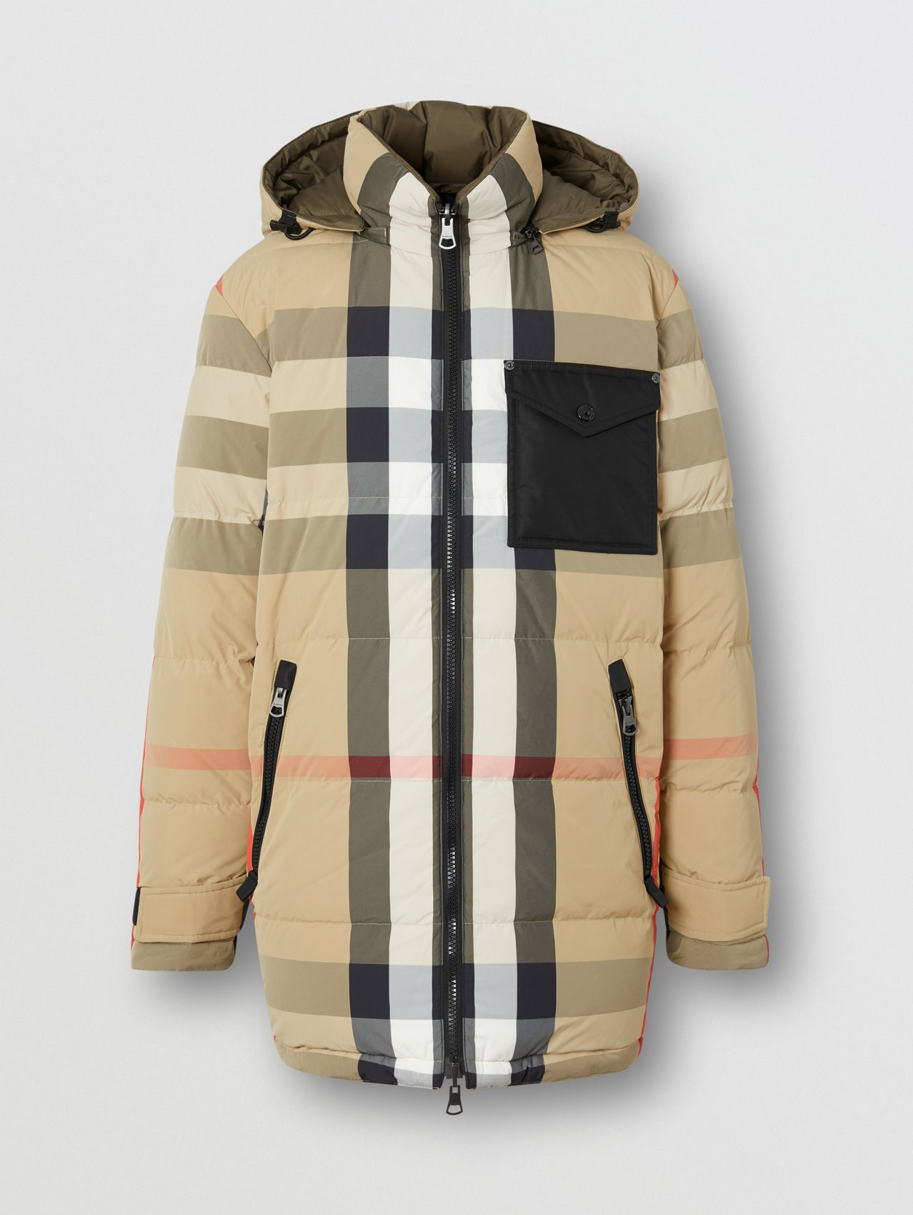 Reversible Check Recycled Nylon Puffer Jacket in Archive Beige/olive