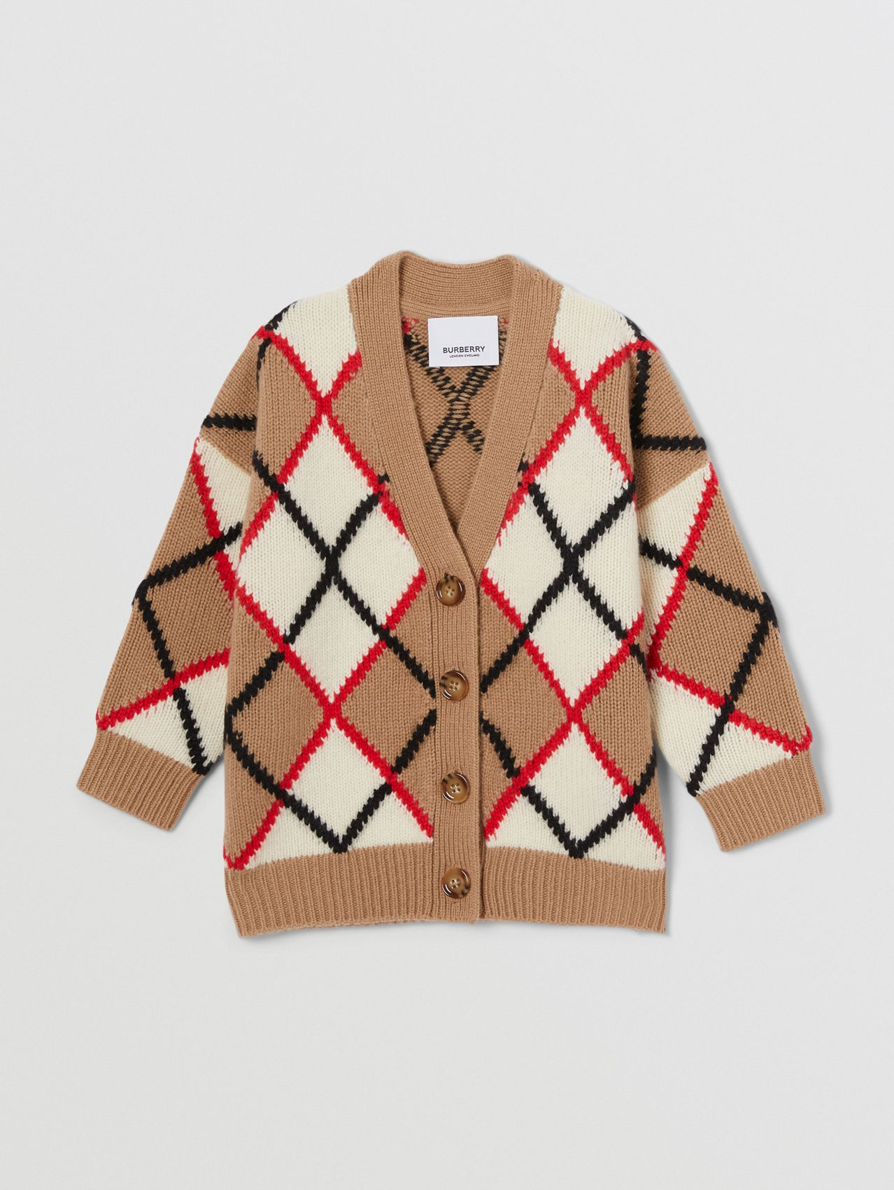 Argyle Intarsia Wool Cashmere Cardigan in Camel