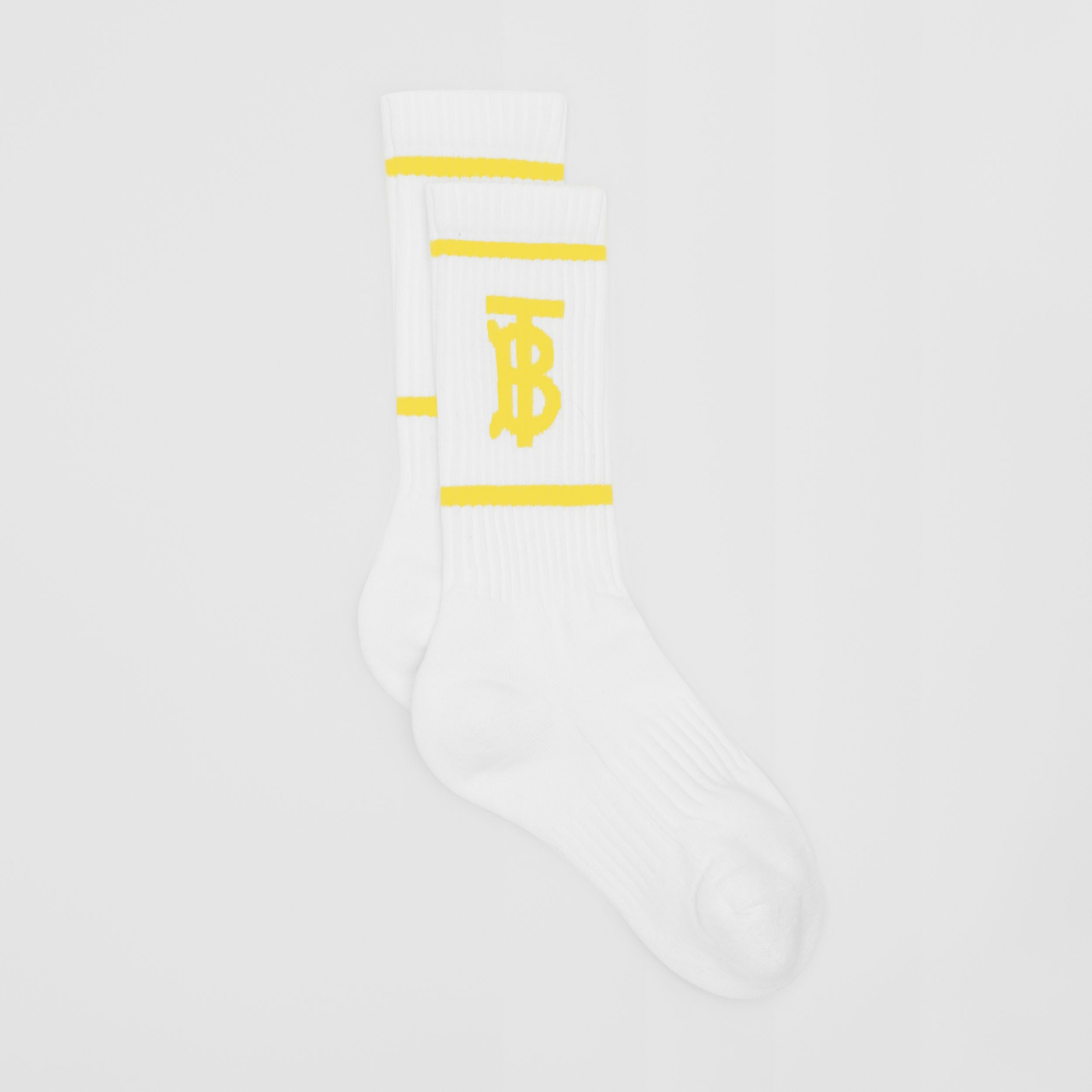 Monogram Motif Intarsia Socks in White/yellow | Burberry - 3