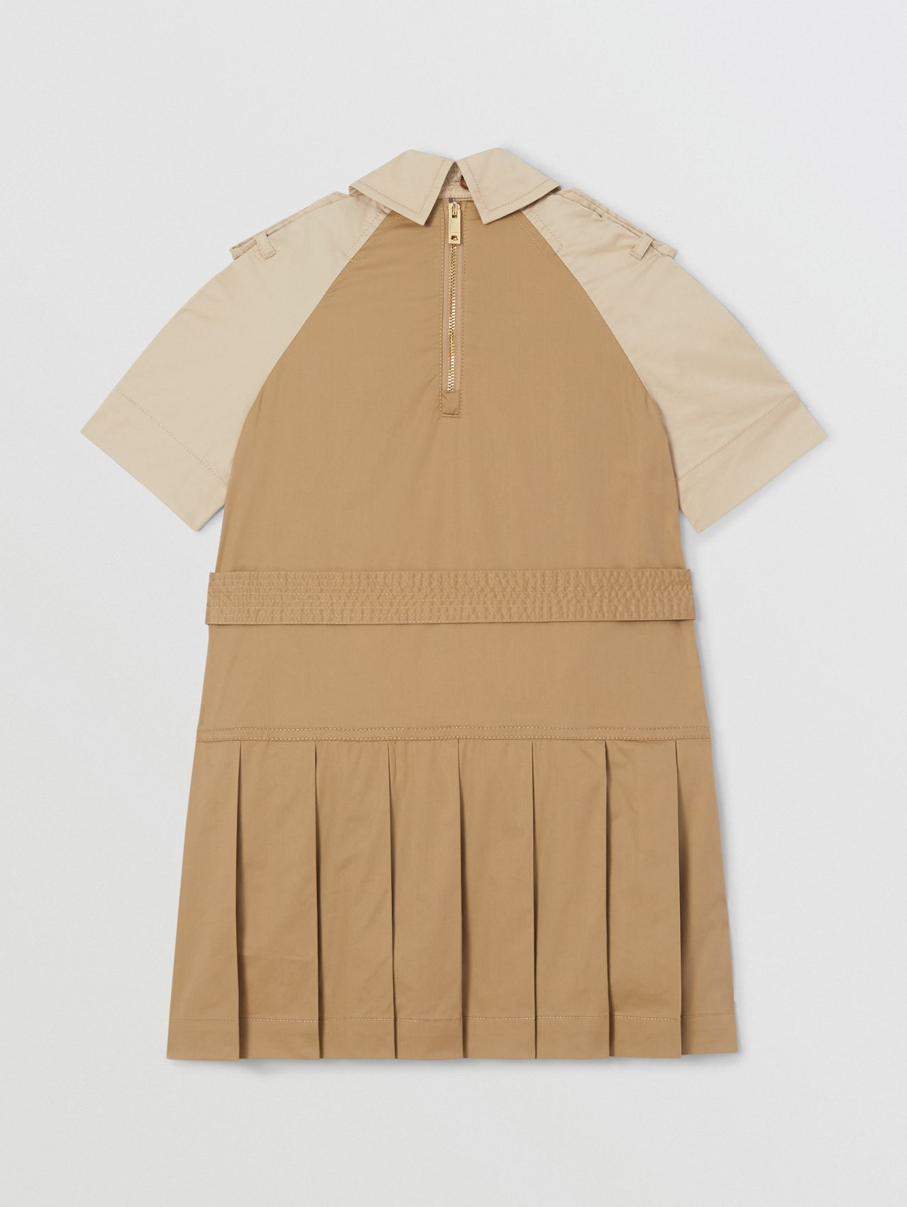 Two-tone Stretch Cotton Belted Trench Dress in Honey