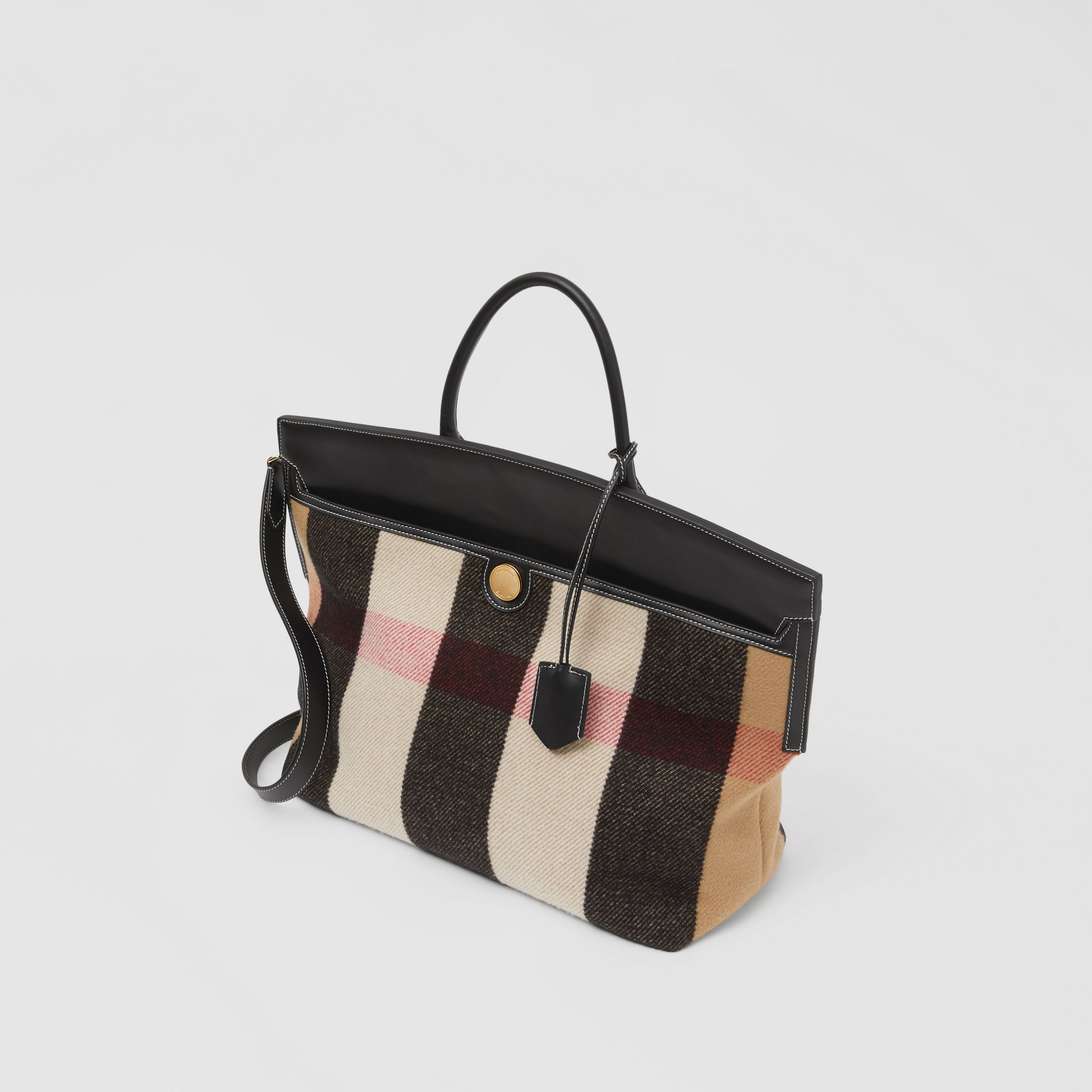 Check Merino Wool Cashmere Society Top Handle Bag in Archive Beige - Women | Burberry United Kingdom - 4