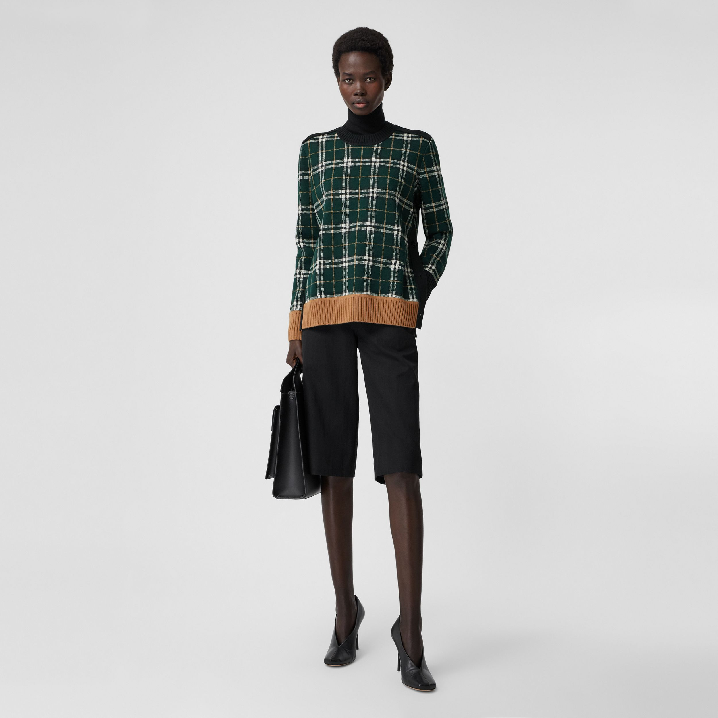 Check Technical Merino Wool Jacquard Sweater in Bottle Green - Women | Burberry - 1