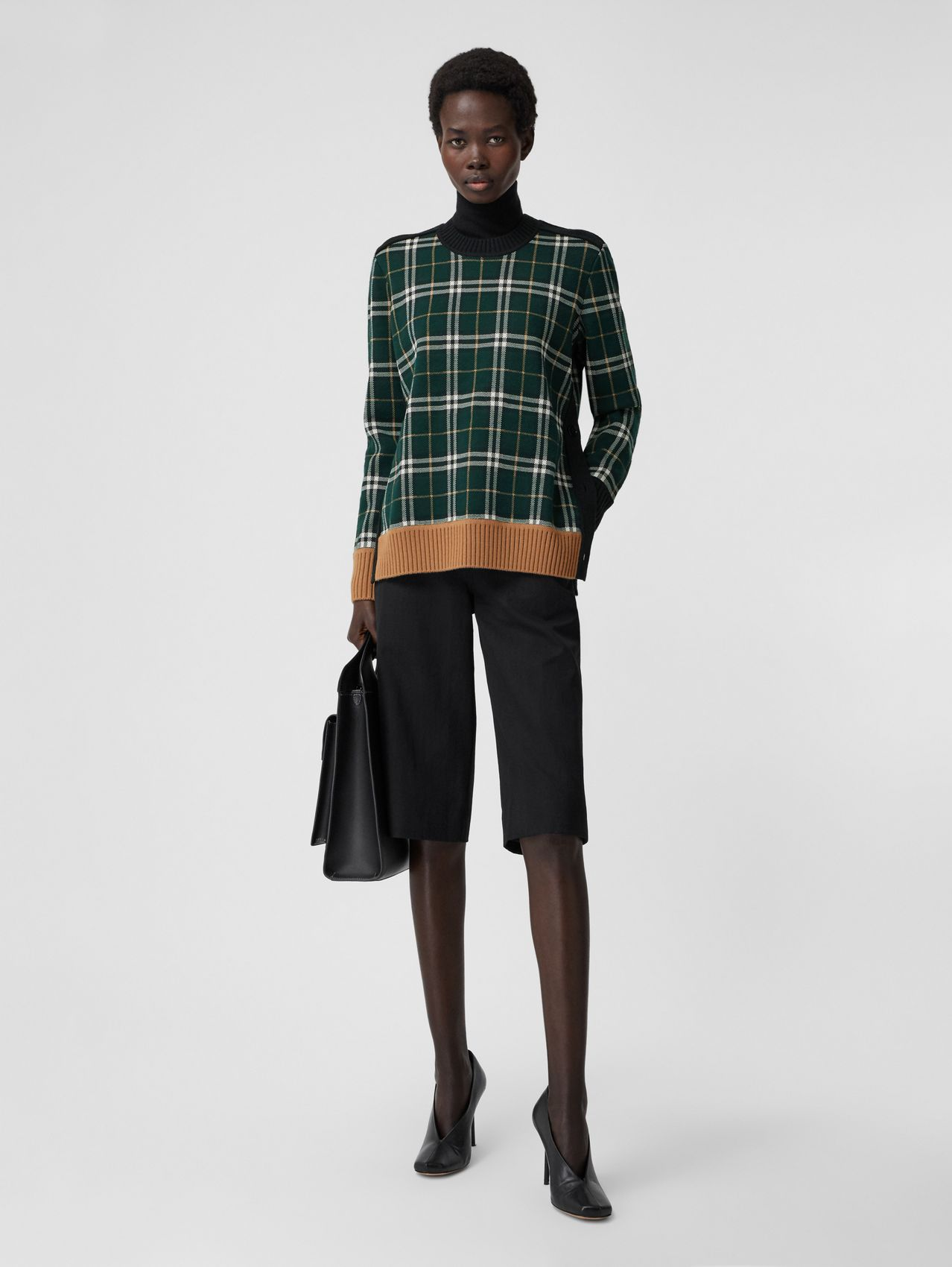 Check Technical Merino Wool Jacquard Sweater in Bottle Green