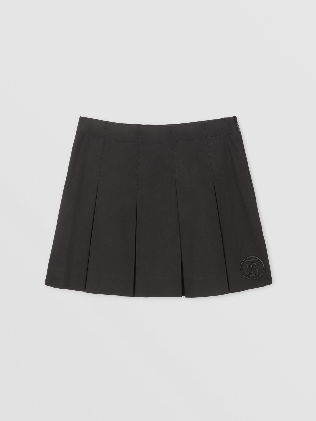 Monogram Motif Cotton Twill Pleated Skirt in Black