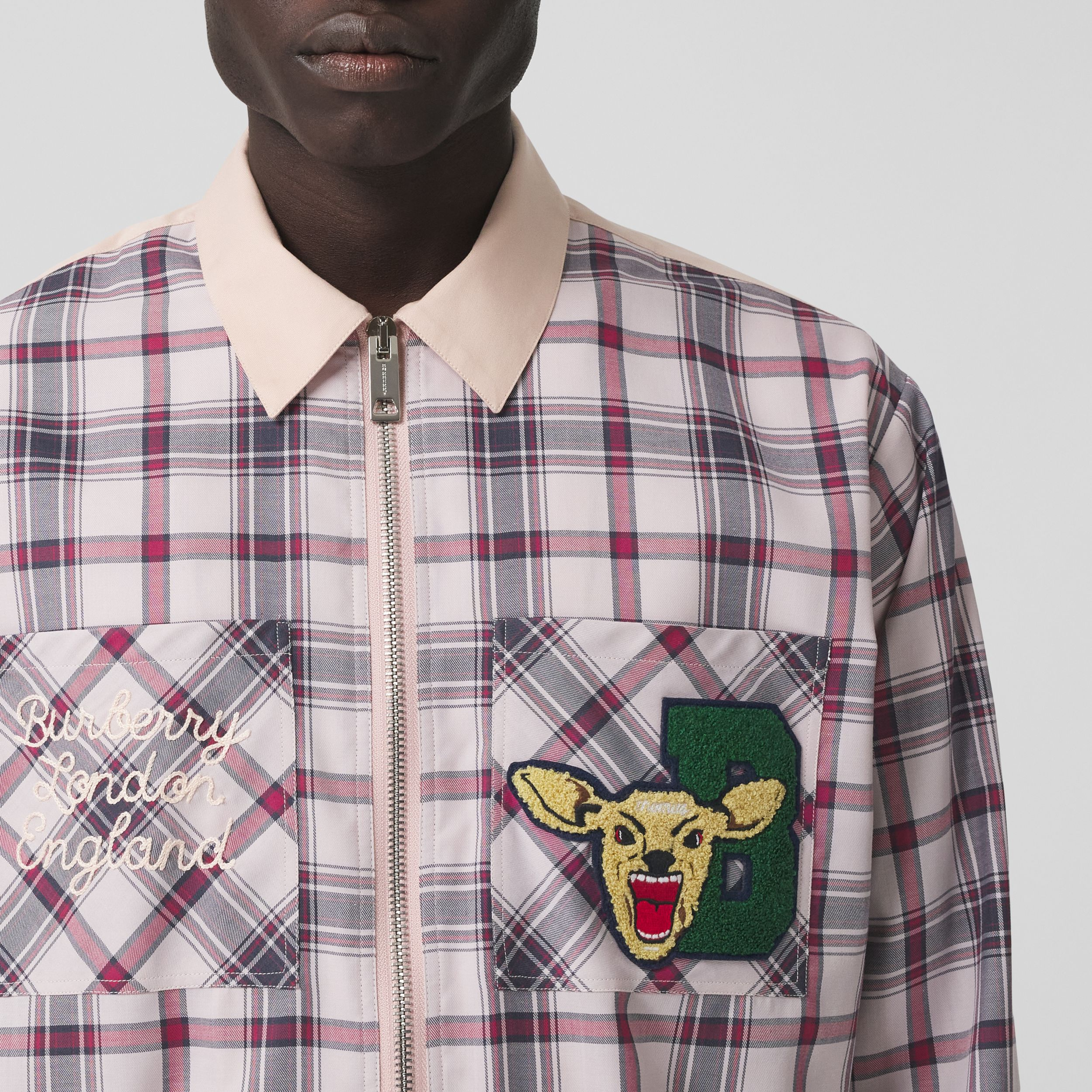 Varsity Graphic Check Technical Cotton Overshirt in Frosted Pink - Men | Burberry Hong Kong S.A.R. - 2