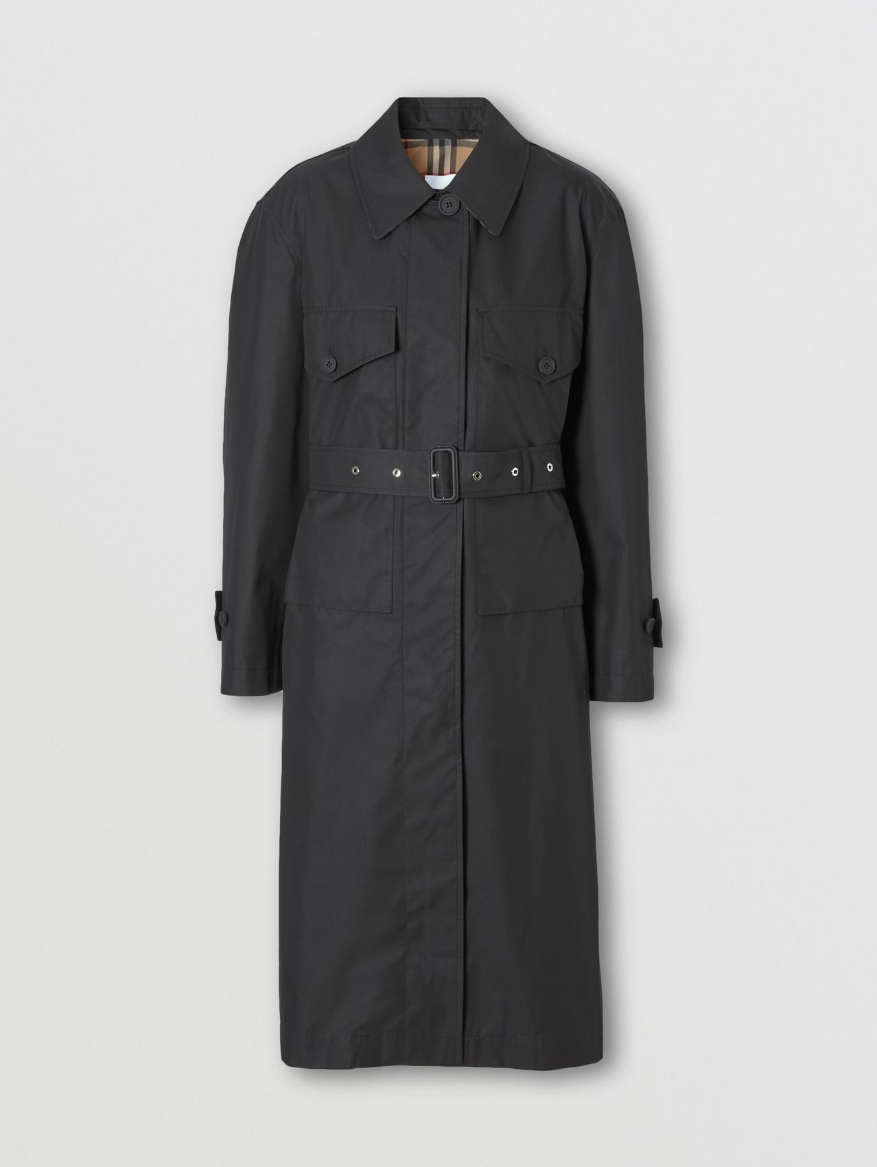 Technical Cotton Belted Car Coat in Black