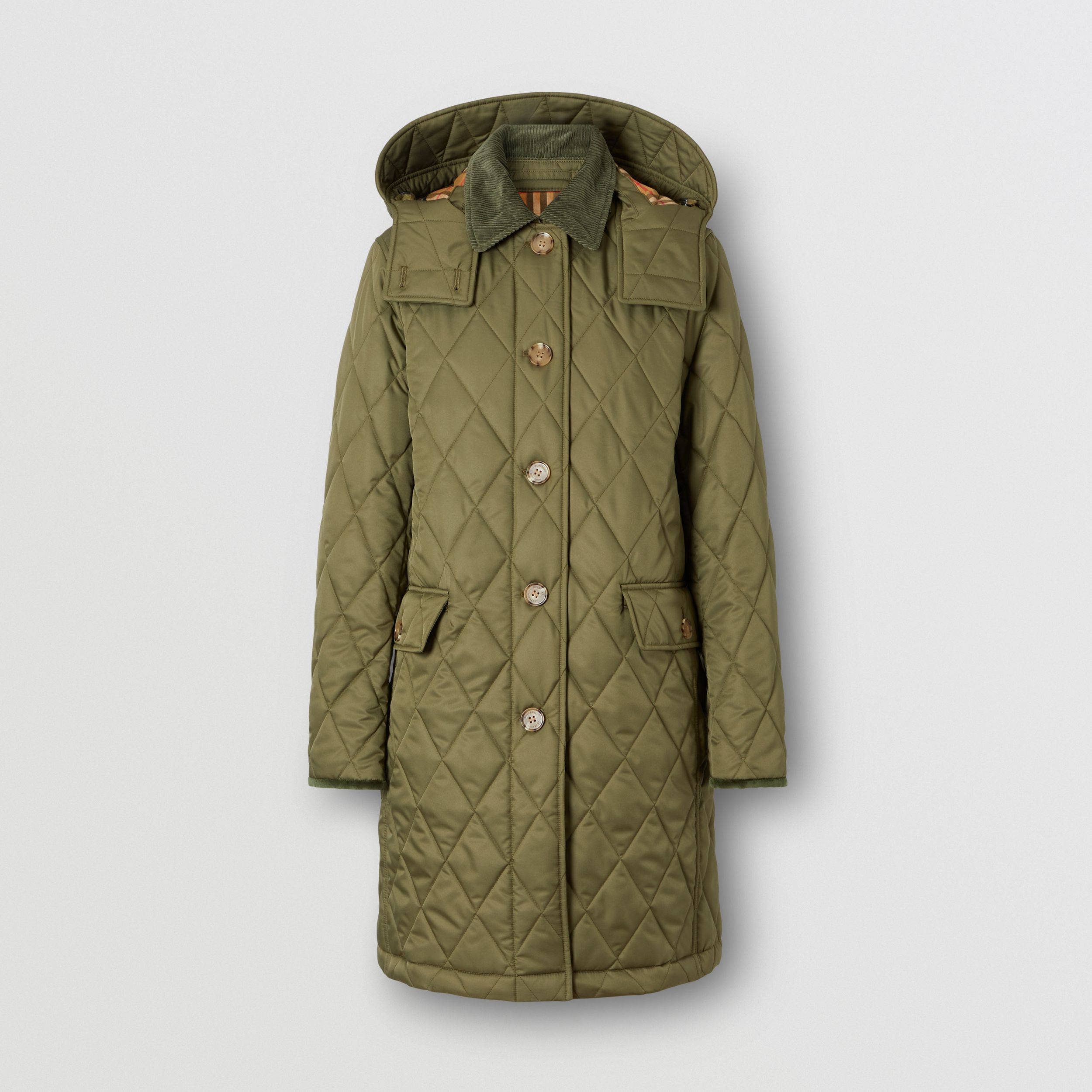 Detachable Hood Diamond Quilted Coat in Olive Green - Women | Burberry - 1