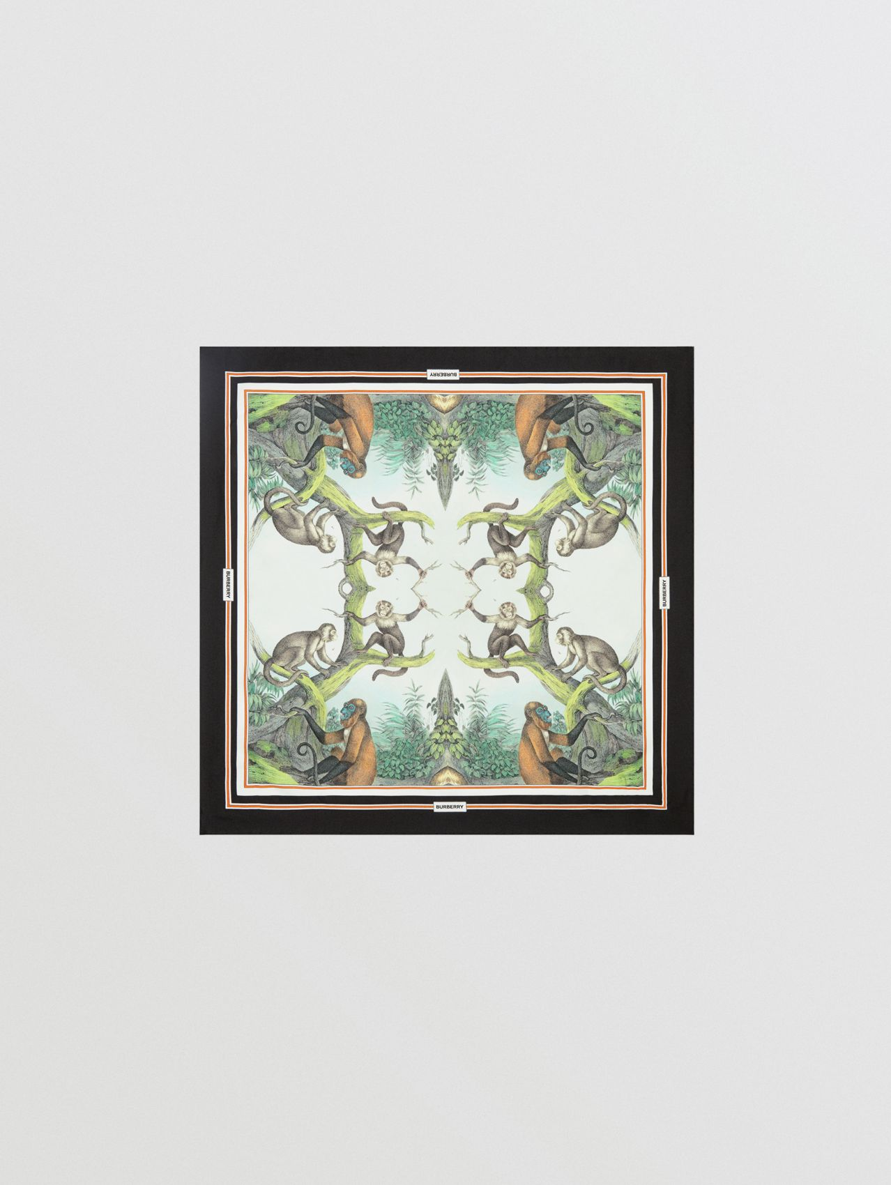 Monkey Print Silk Small Square Scarf (Light Opal Green)