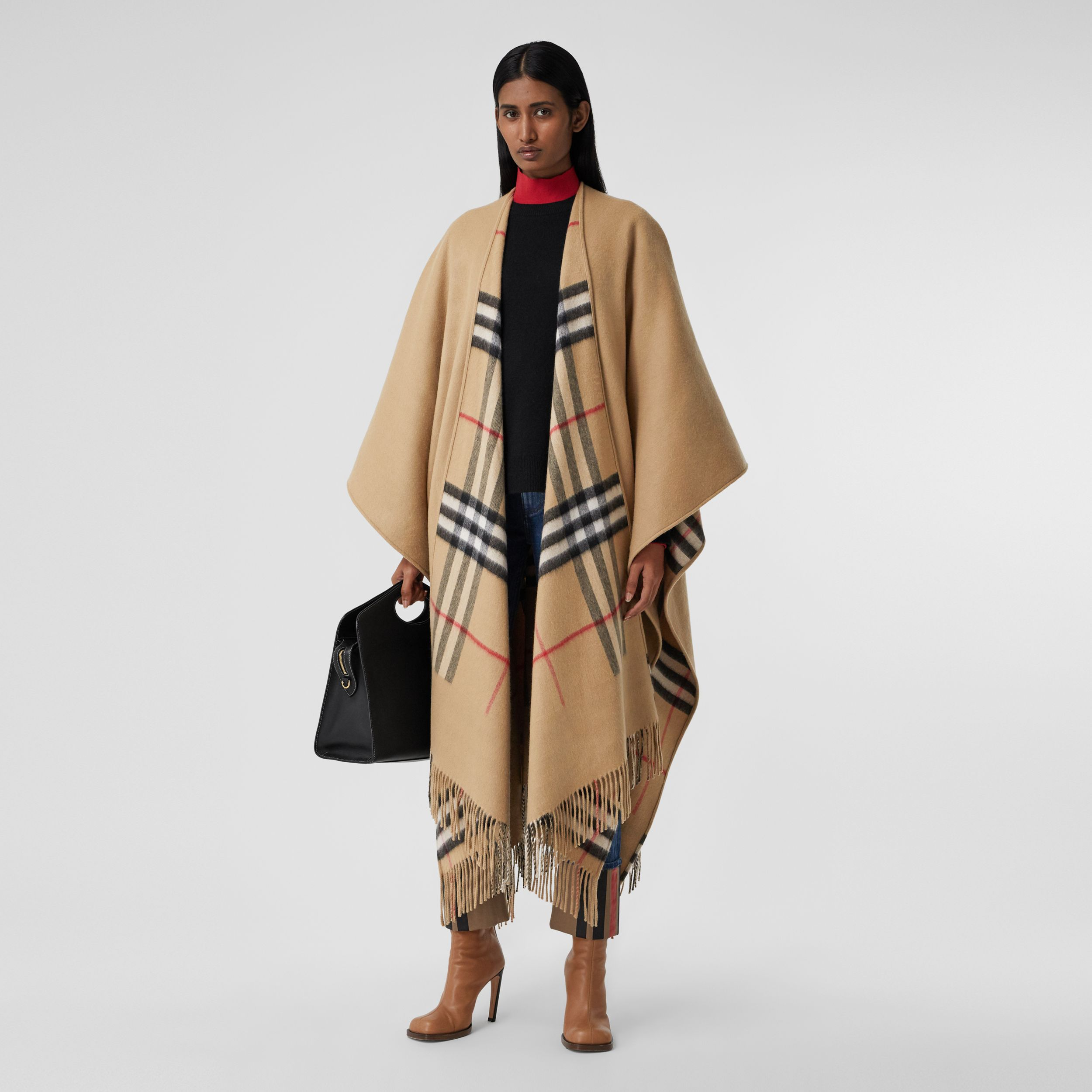 Check-lined Cashmere Merino Wool Cape in Archive Beige - Women | Burberry - 1
