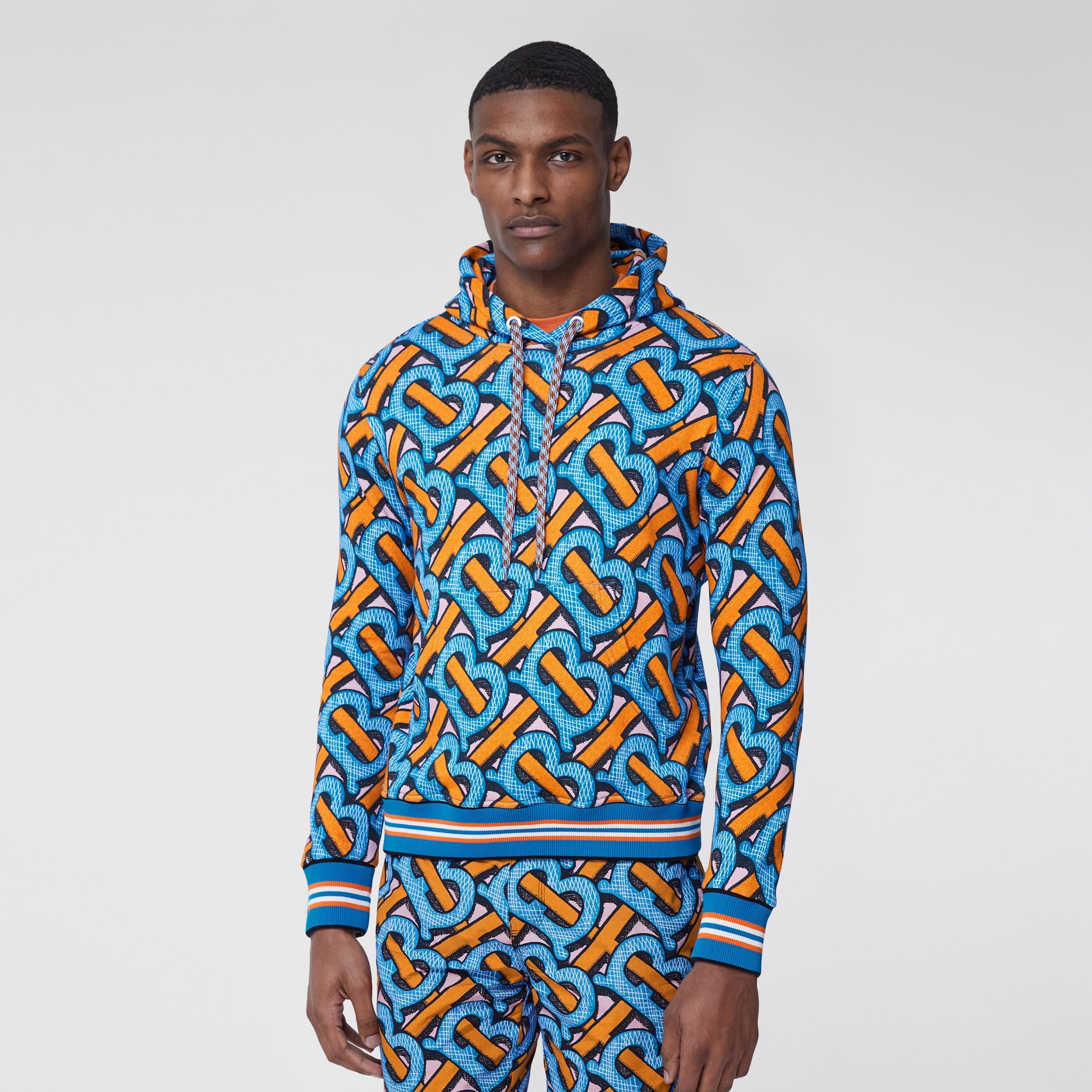 Monogram Print Cotton Hoodie – Unisex in Bright Cobalt | Burberry - 3