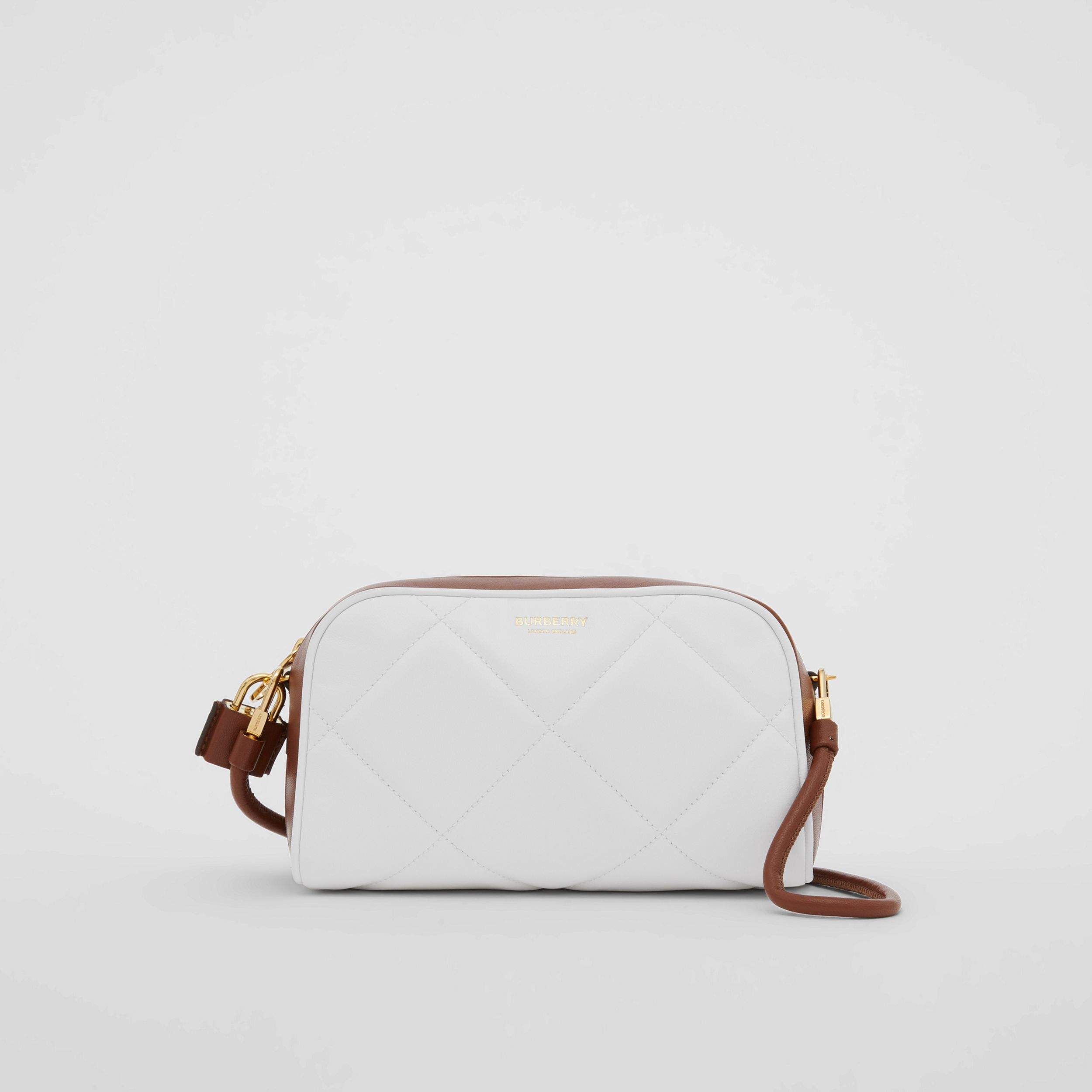 Two-tone Lambskin Half Cube Crossbody Bag in White/tan - Women | Burberry - 1